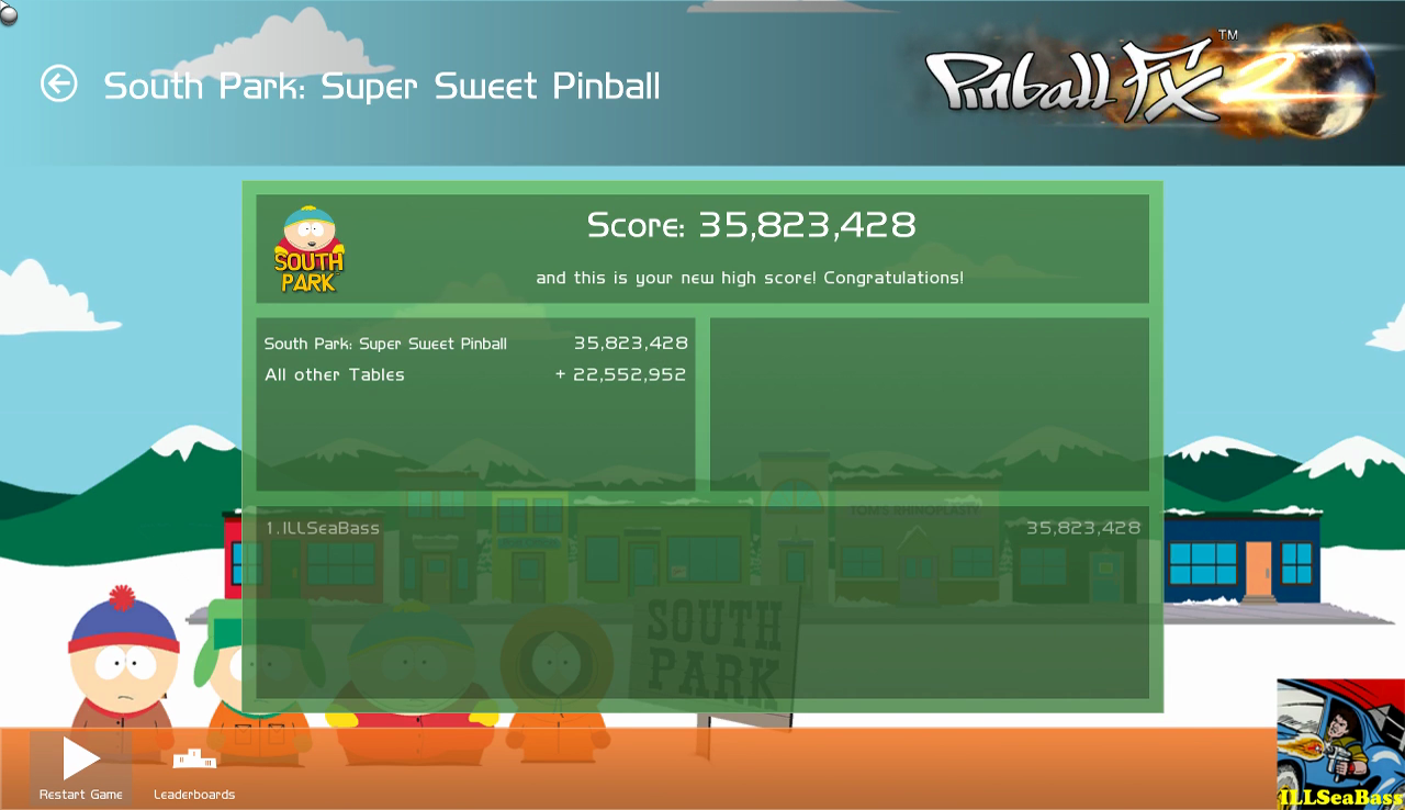 Pinball FX 2: South Park: Super Sweet Pinball 35,823,428 points