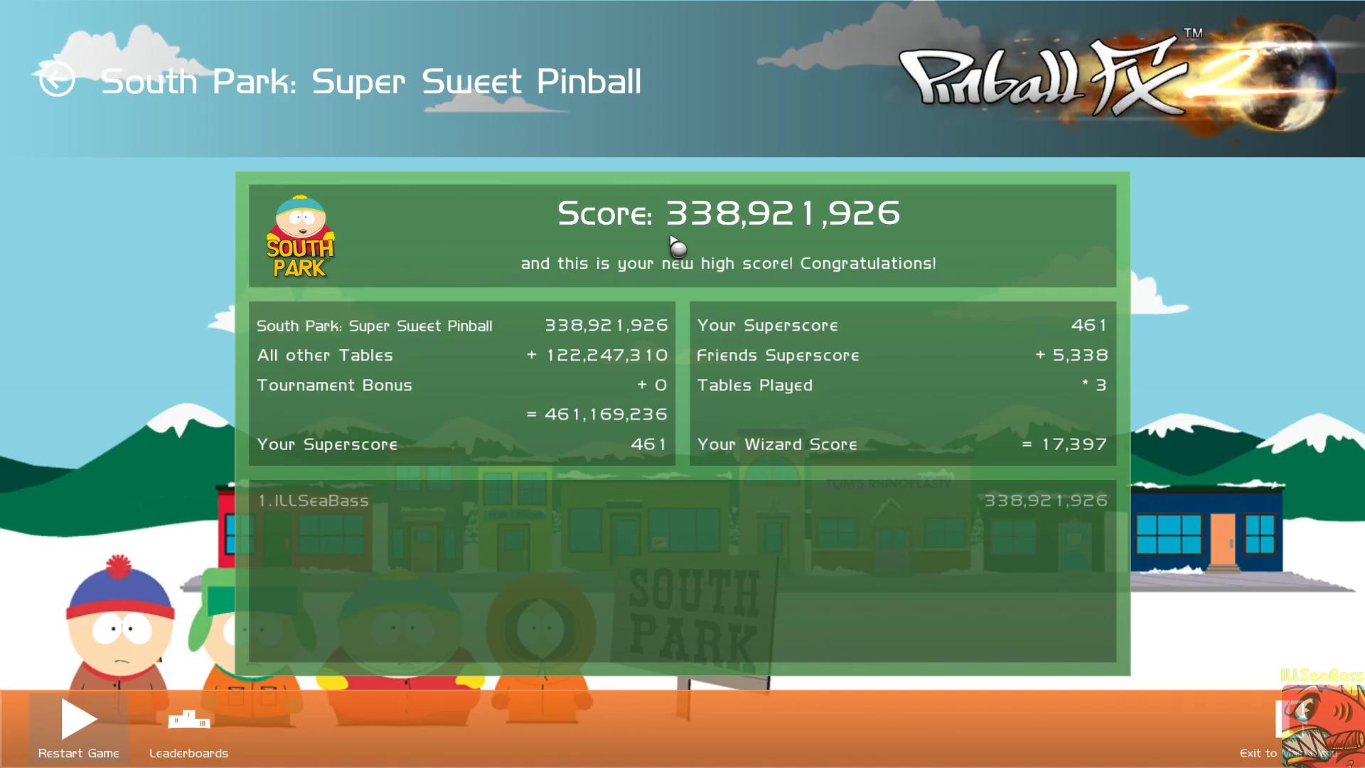 ILLSeaBass: Pinball FX 2: South Park: Super Sweet Pinball (PC) 338,921,926 points on 2019-06-18 01:37:00