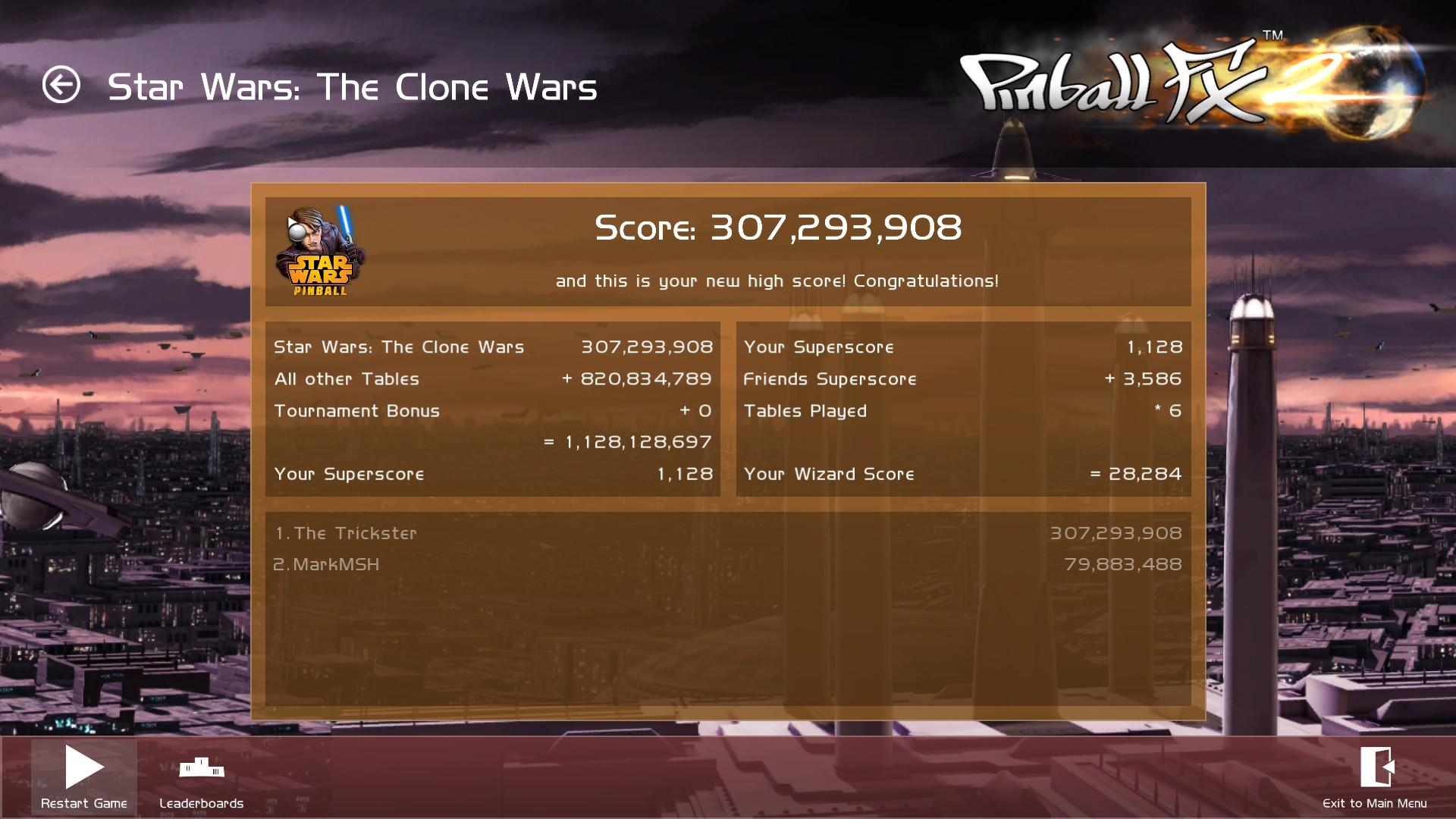 Pinball FX 2: Star Wars: The Clone Wars 307,293,908 points