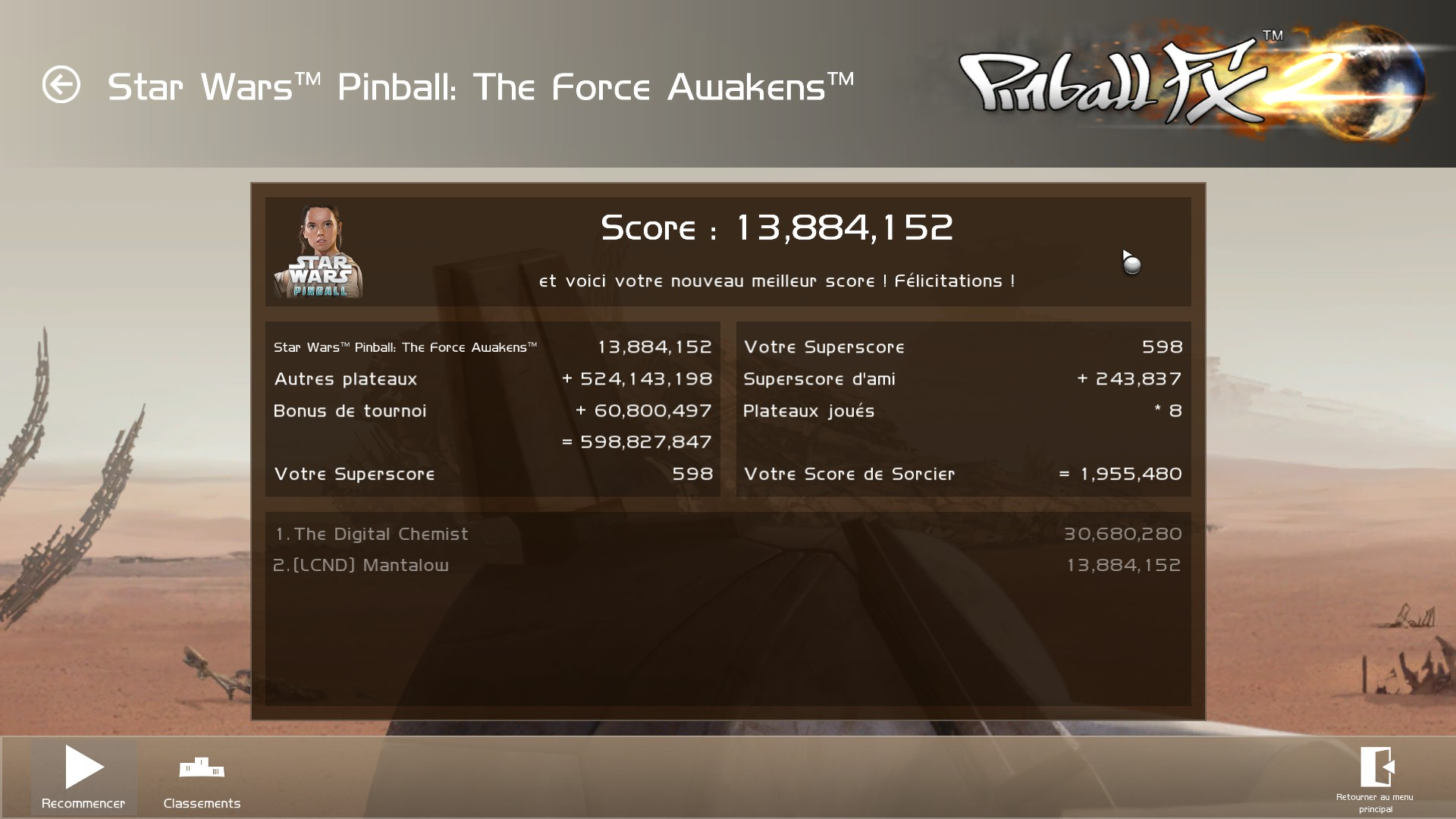 Mantalow: Pinball FX 2: Star Wars: The Force Awakens (PC) 13,884,152 points on 2016-01-12 11:43:25