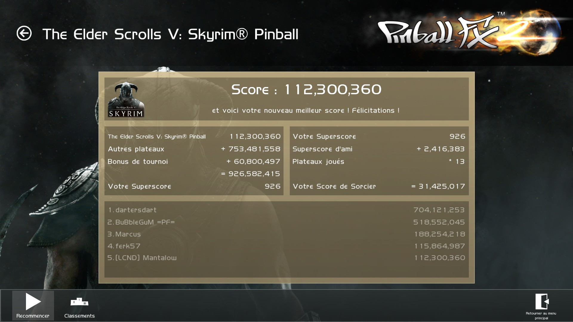 Mantalow: Pinball FX 2: The Elder Scrolls V: Skyrim Pinball (PC) 112,300,360 points on 2017-07-13 05:58:46