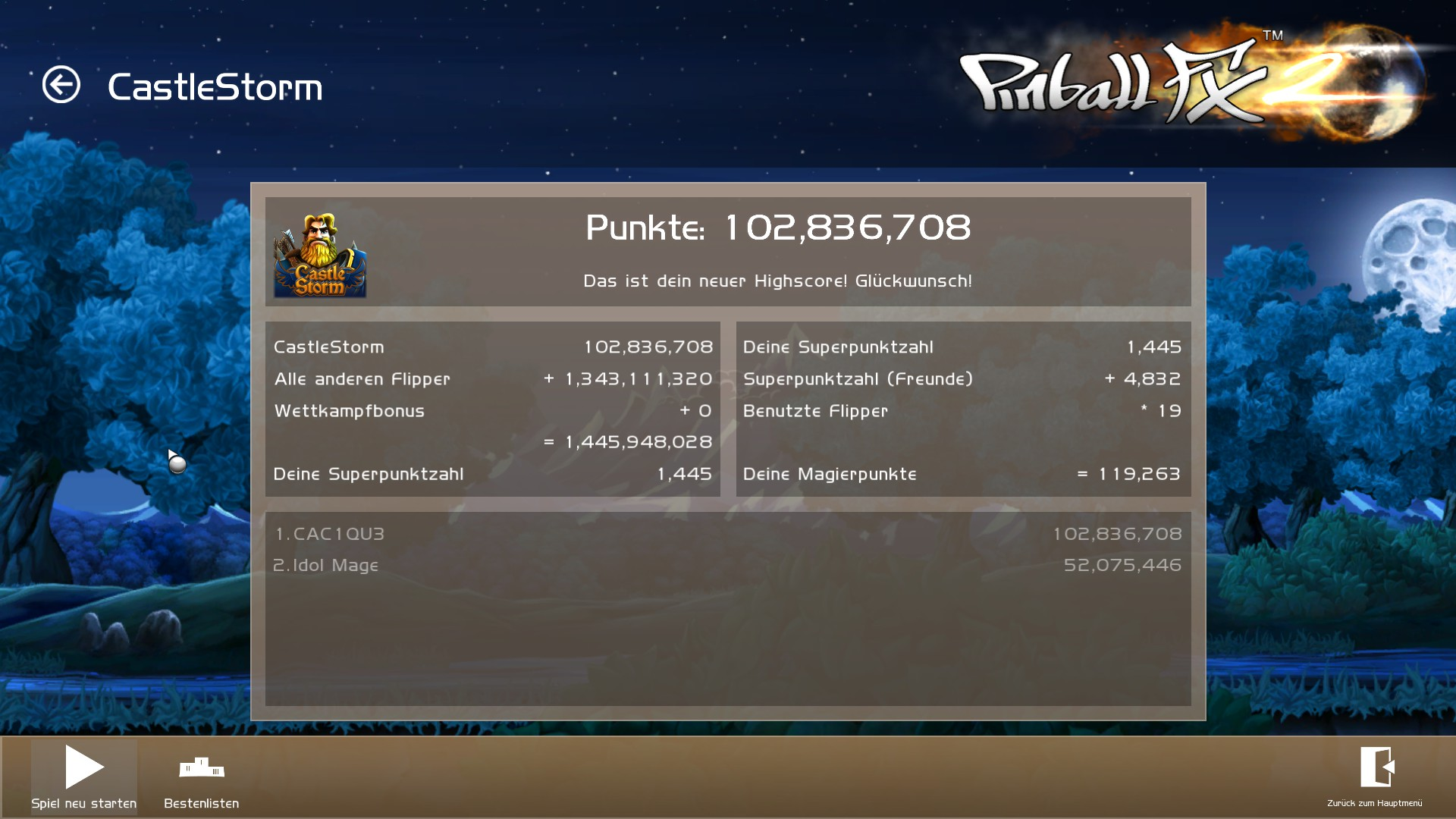 Pinball FX2: Castle Storm 102,836,708 points