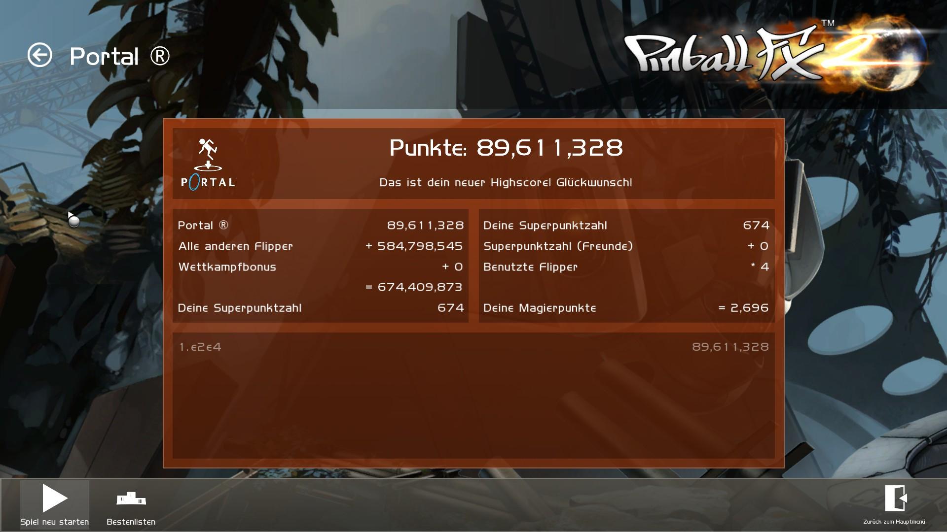 Pinball FX2: Portal® 89,611,328 points
