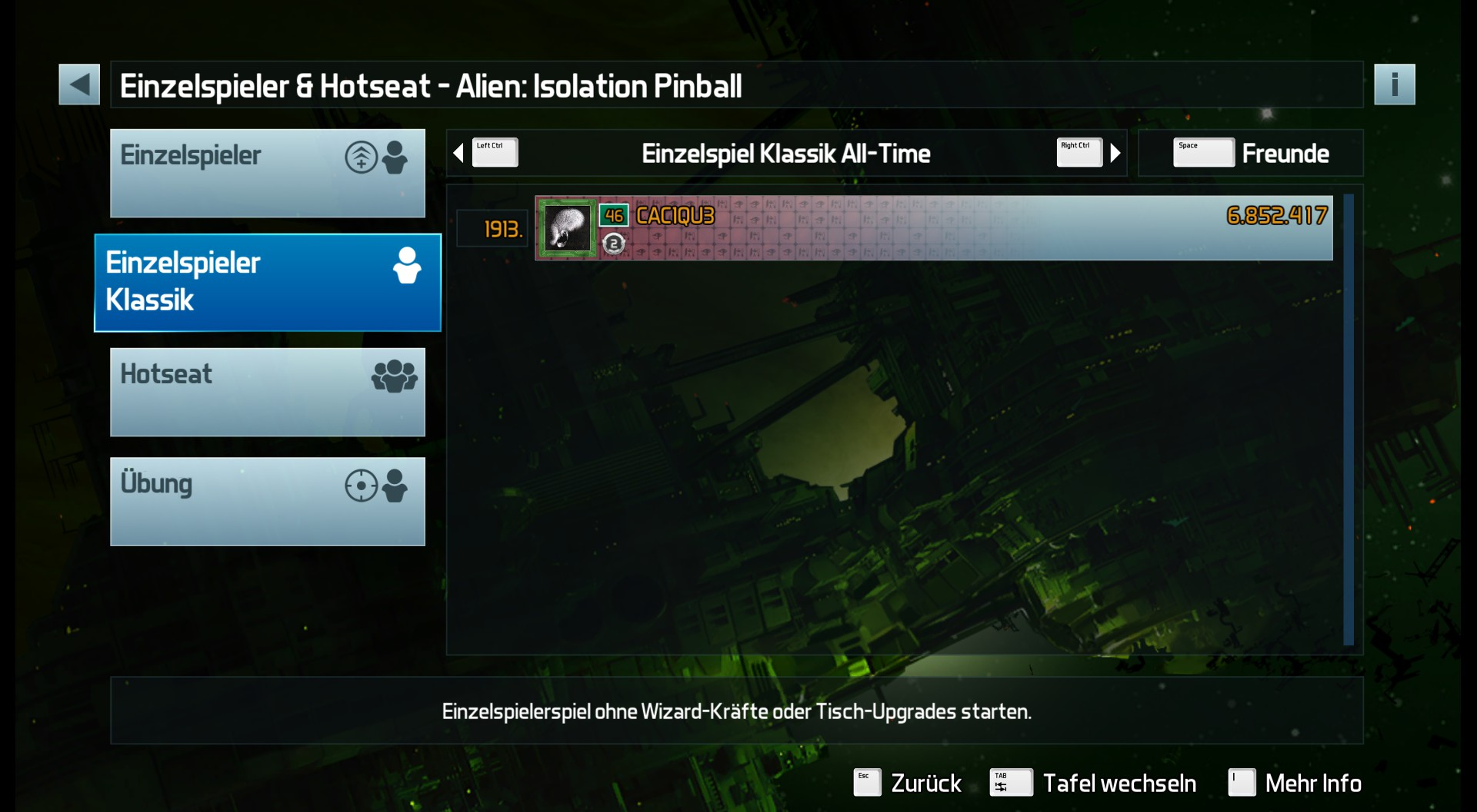 CAC1QU3: Pinball FX3: Alien: Isolation Pinball [Classic] (PC) 6,852,417 points on 2019-03-22 07:19:30
