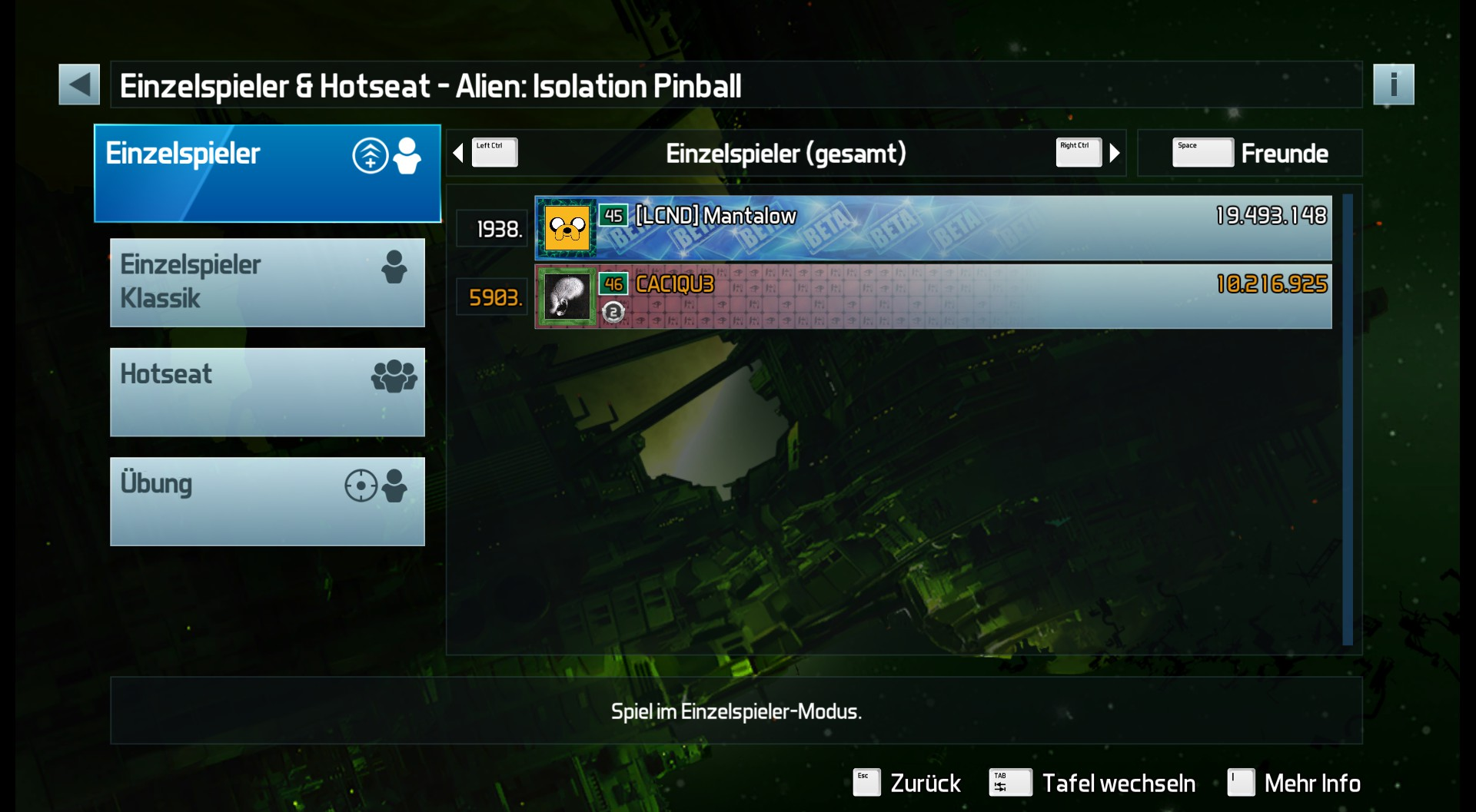 CAC1QU3: Pinball FX3: Alien: Isolation Pinball (PC) 10,216,925 points on 2019-03-22 07:18:28