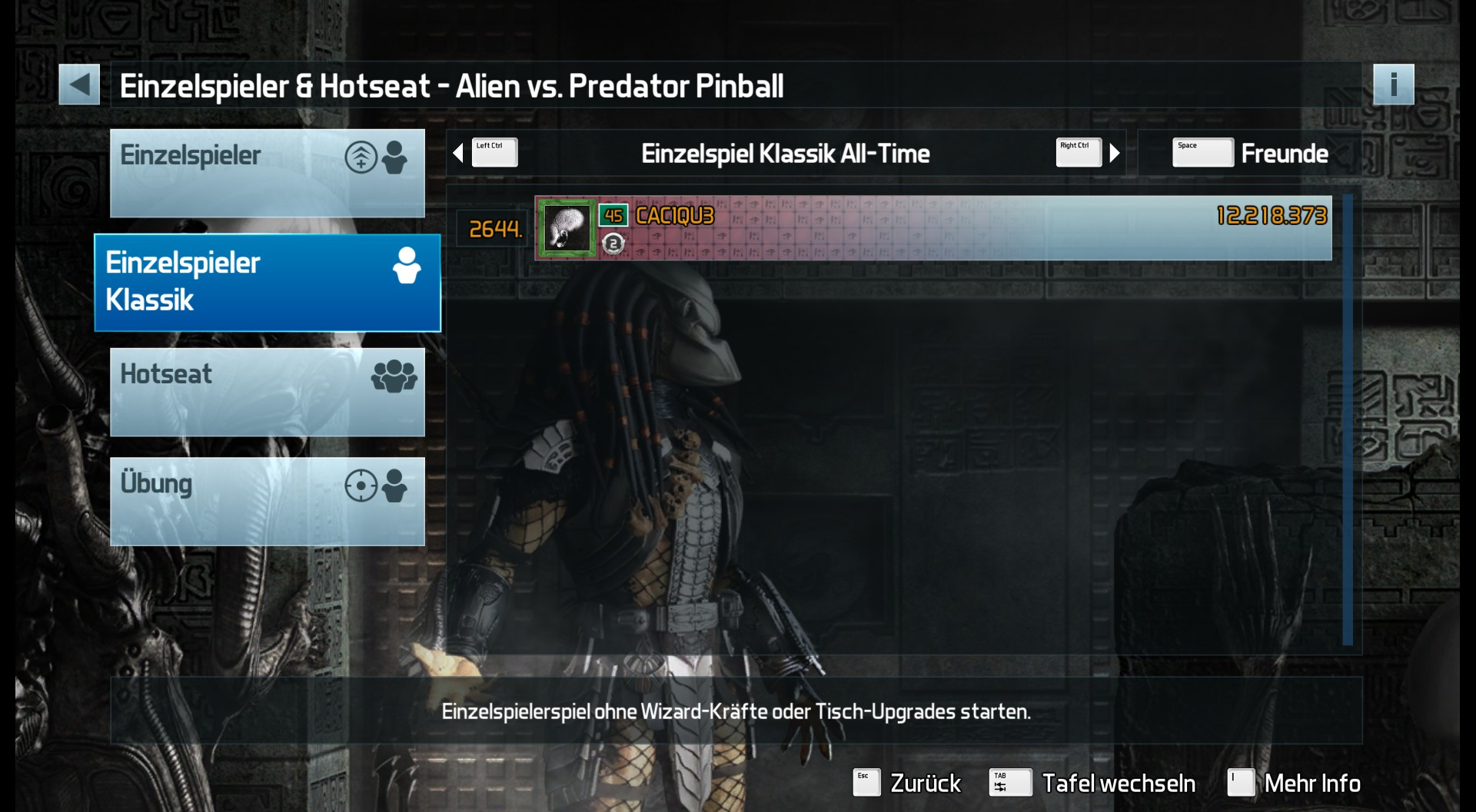 CAC1QU3: Pinball FX3: Alien vs. Predator Pinball [Classic] (PC) 12,218,373 points on 2019-03-19 09:36:14