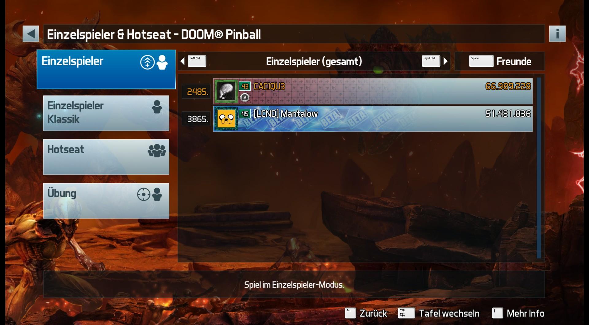 CAC1QU3: Pinball FX3: Doom Pinball (PC) 66,989,228 points on 2019-02-23 07:09:42