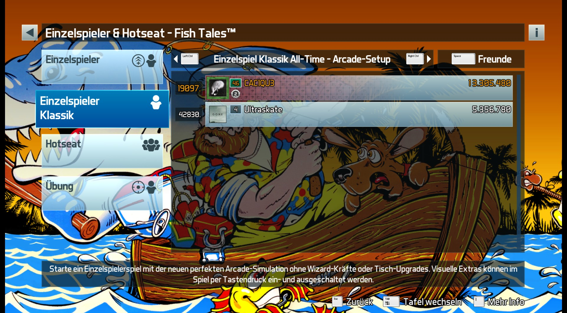 CAC1QU3: Pinball FX3: Fish Tales [Arcade] (PC) 13,305,480 points on 2019-03-26 21:15:06