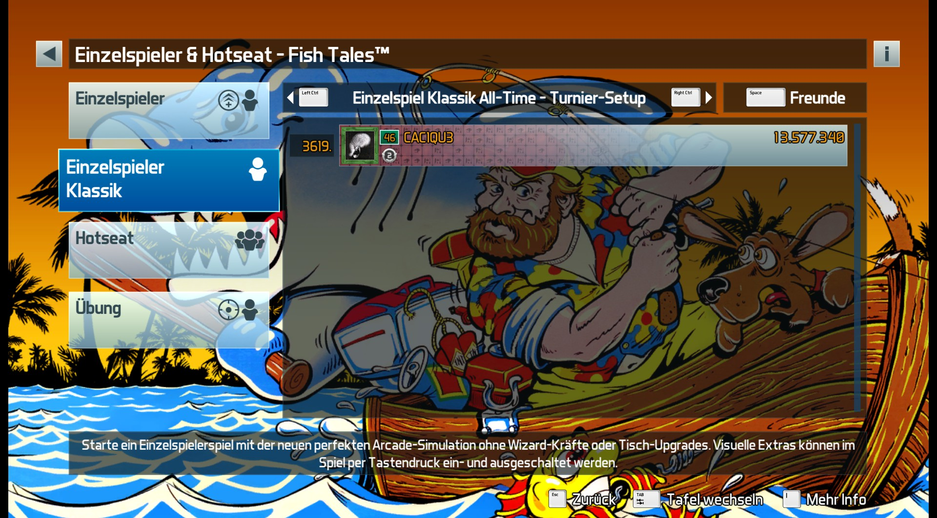 CAC1QU3: Pinball FX3: Fish Tales [Tournament] (PC) 13,577,340 points on 2019-03-26 21:02:48