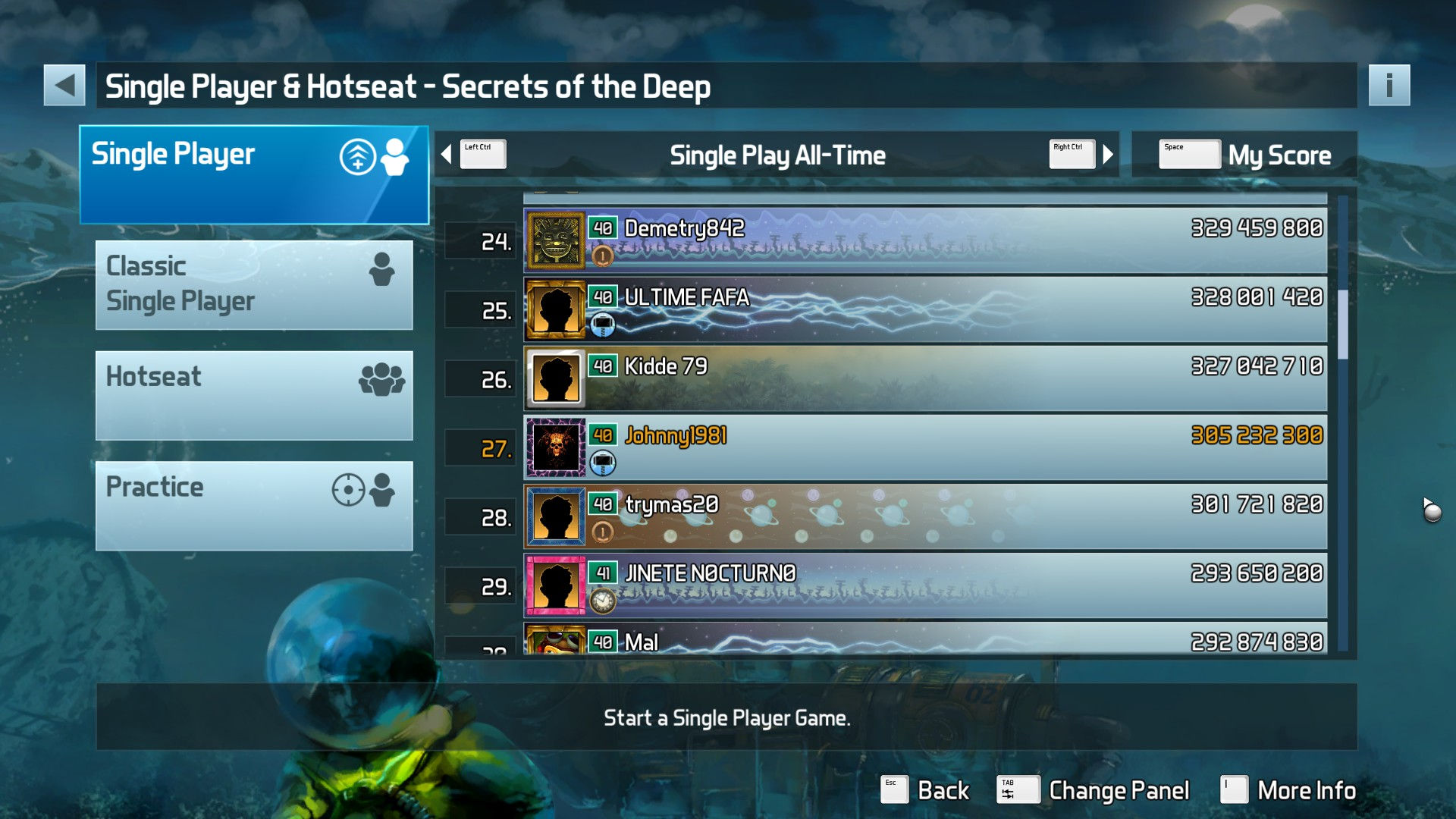 Johnny1981: Pinball FX3: Secrets of the Deep (PC) 305,232,300 points on 2018-04-11 01:07:56