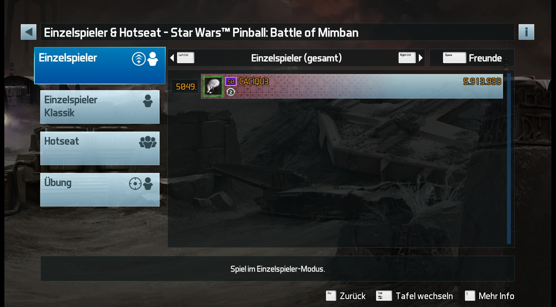CAC1QU3: Pinball FX3: Star Wars Pinball: Battle Of Mimban (PC) 5,913,933 points on 2019-05-02 18:51:18