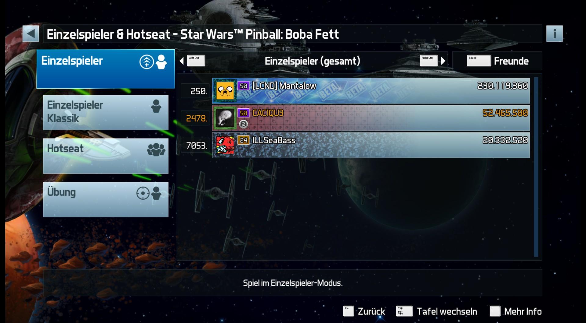 CAC1QU3: Pinball FX3: Star Wars Pinball: Boba Fett (PC) 52,465,580 points on 2019-04-11 22:24:20