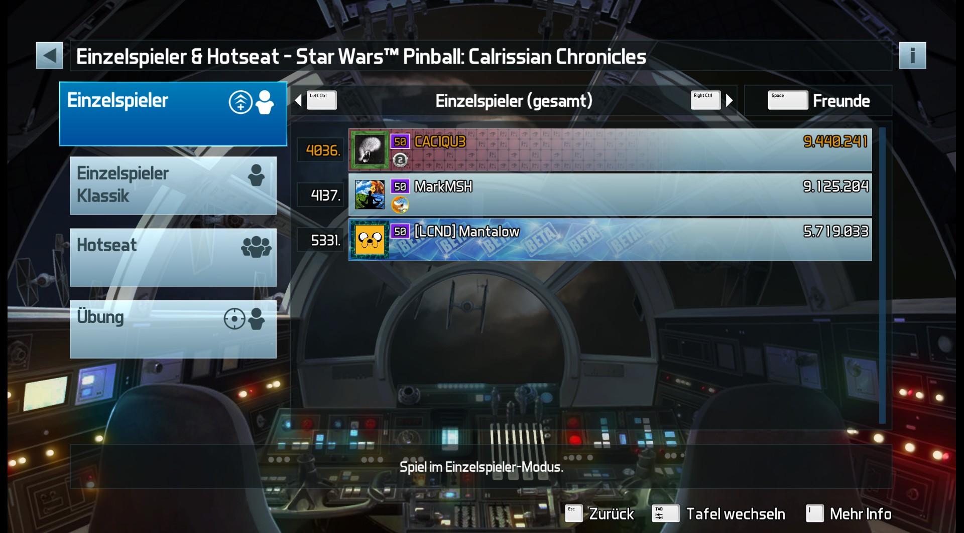 CAC1QU3: Pinball FX3: Star Wars Pinball: Calrissian Chronicles (PC) 9,440,241 points on 2019-05-02 13:13:19