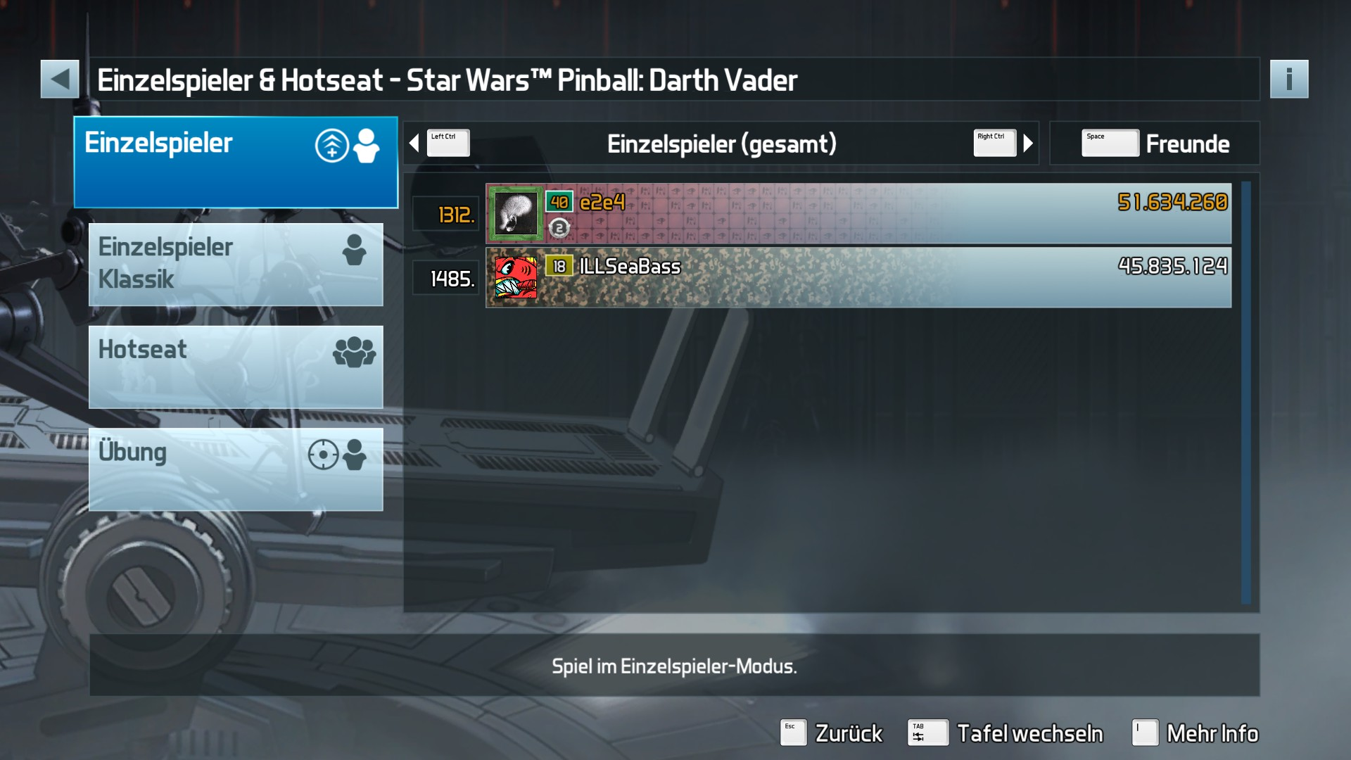 e2e4: Pinball FX3: Star Wars Pinball: Darth Vader (PC) 51,634,260 points on 2017-11-23 23:48:36