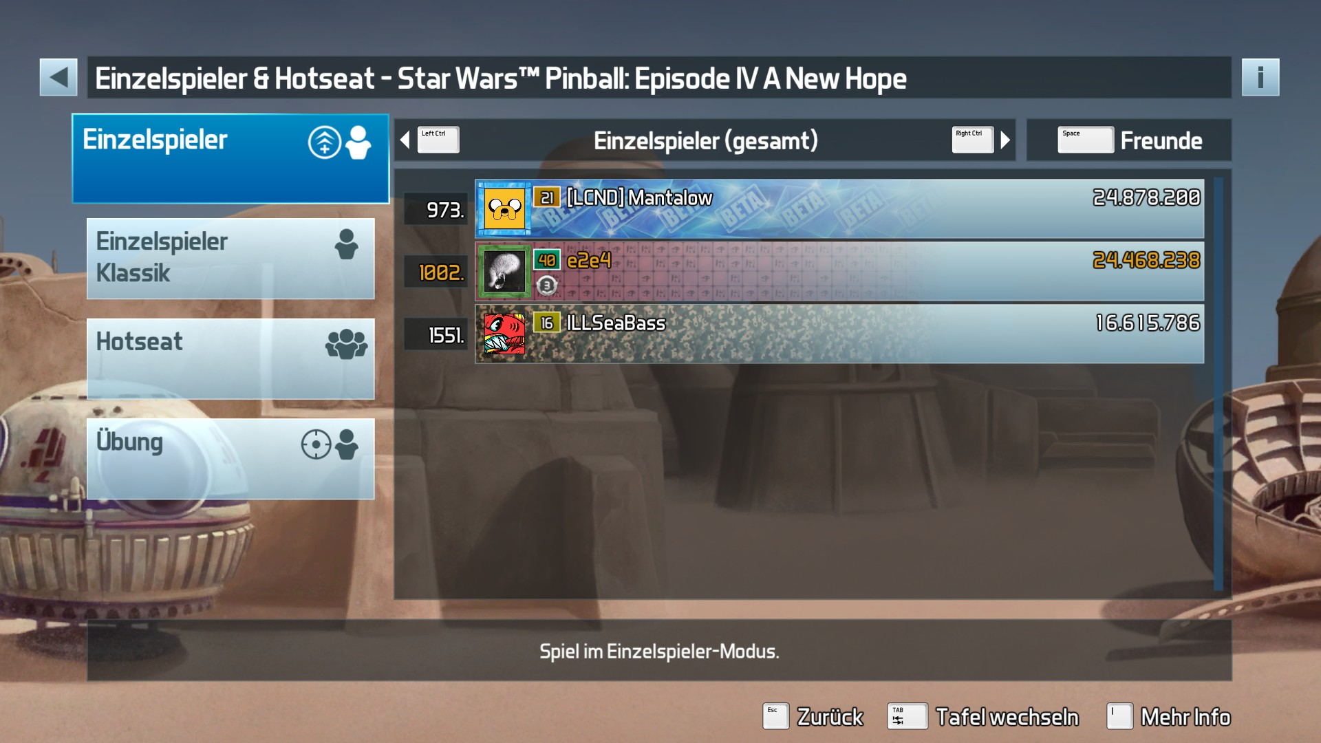 Pinball FX3: Star Wars Pinball: Episode IV A New Hope 24,468,238 points
