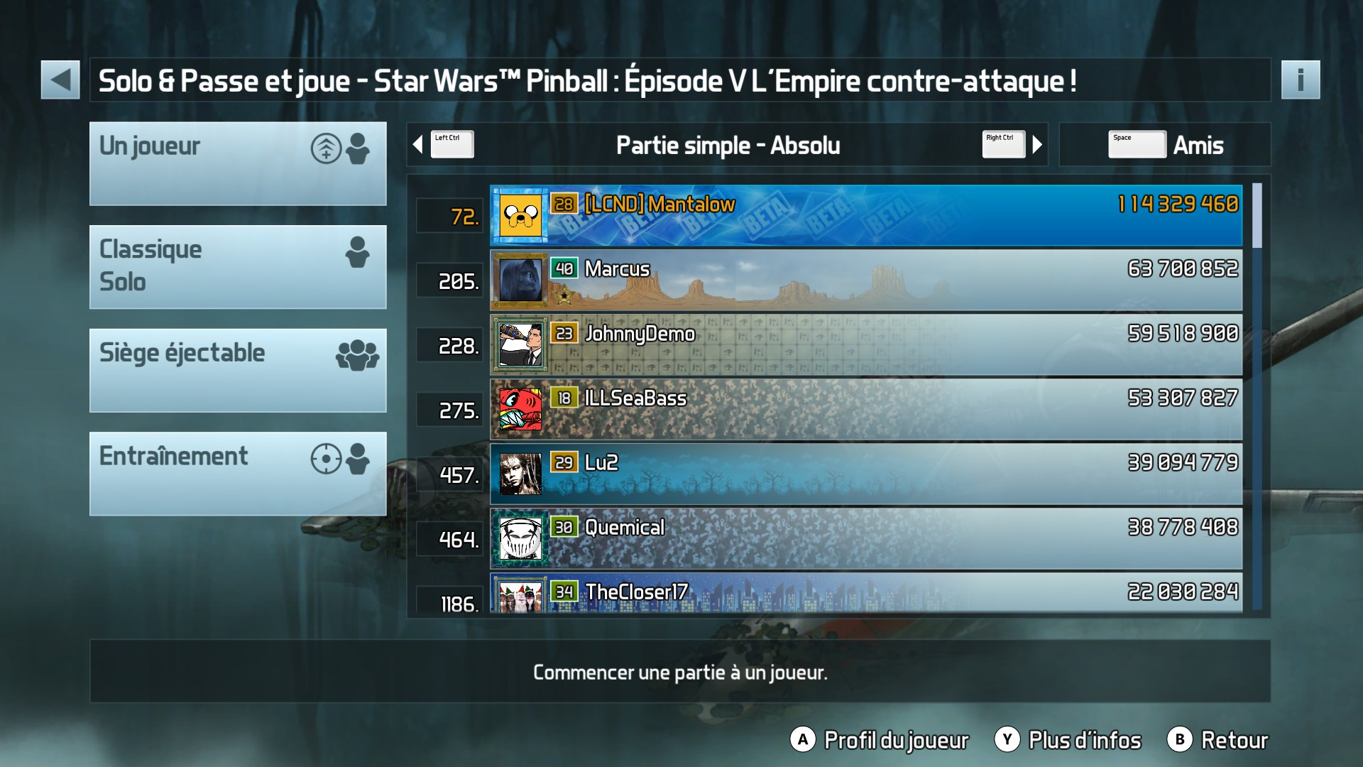 Mantalow: Pinball FX3: Star Wars Pinball: Episode V The Empire Strikes Back (PC) 114,329,460 points on 2017-12-19 10:51:03