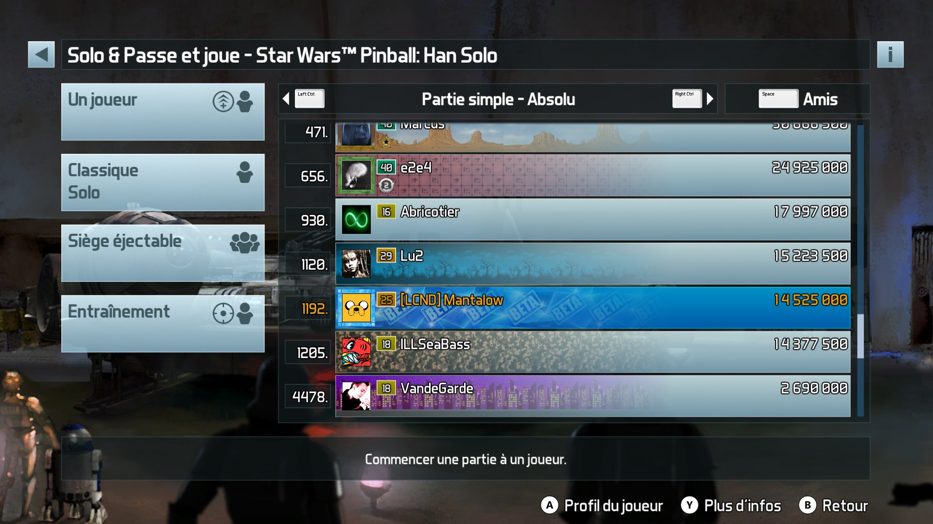 Mantalow: Pinball FX3: Star Wars Pinball: Han Solo (PC) 14,525,000 points on 2017-12-19 04:38:46