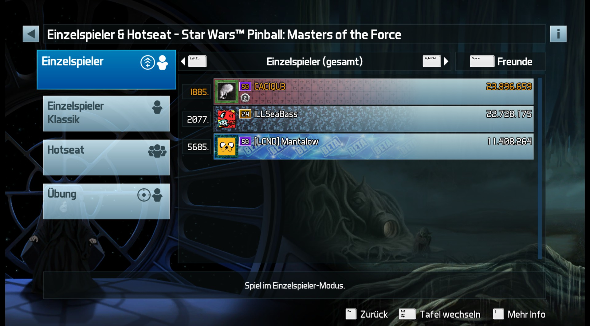 CAC1QU3: Pinball FX3: Star Wars Pinball: Masters of the Force (PC) 23,896,659 points on 2019-04-14 23:26:49