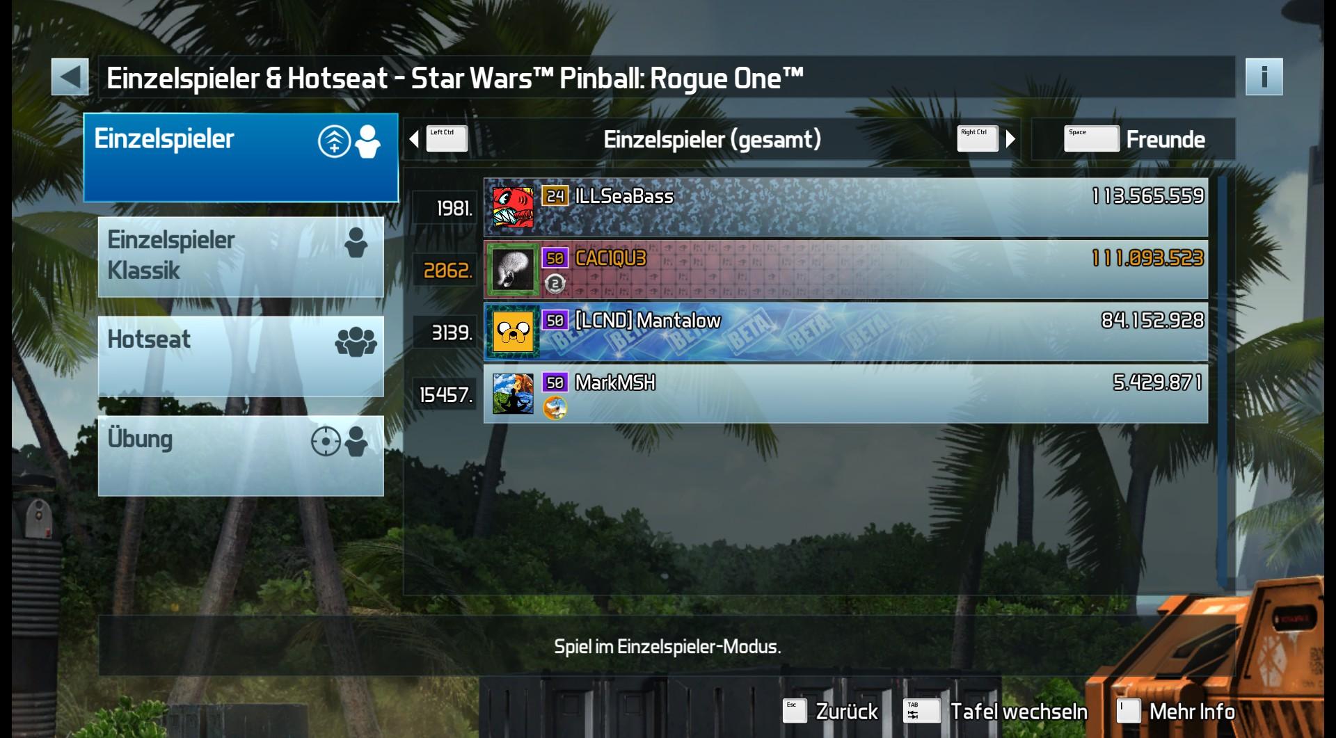 CAC1QU3: Pinball FX3: Star Wars Pinball: Rogue One (PC) 111,093,523 points on 2019-04-21 18:36:42