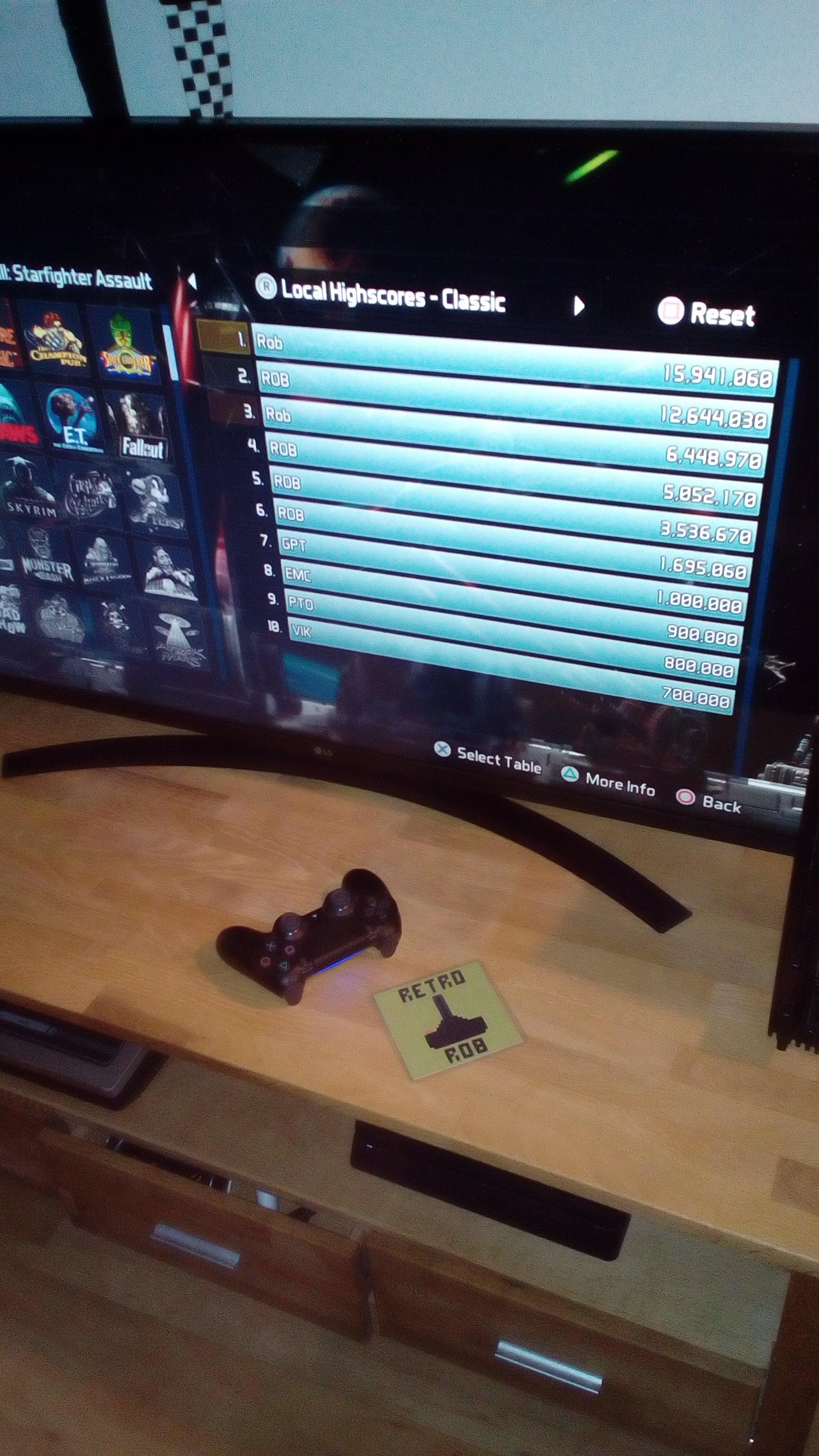 RetroRob: Pinball FX3: Star Wars Pinball: Starfighter Assault [Classic] (Playstation 4) 15,941,060 points on 2020-08-10 05:28:50
