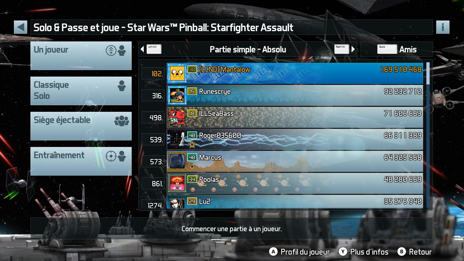 Mantalow: Pinball FX3: Star Wars Pinball: Starfighter Assault (PC) 169,510,468 points on 2017-12-19 10:52:06