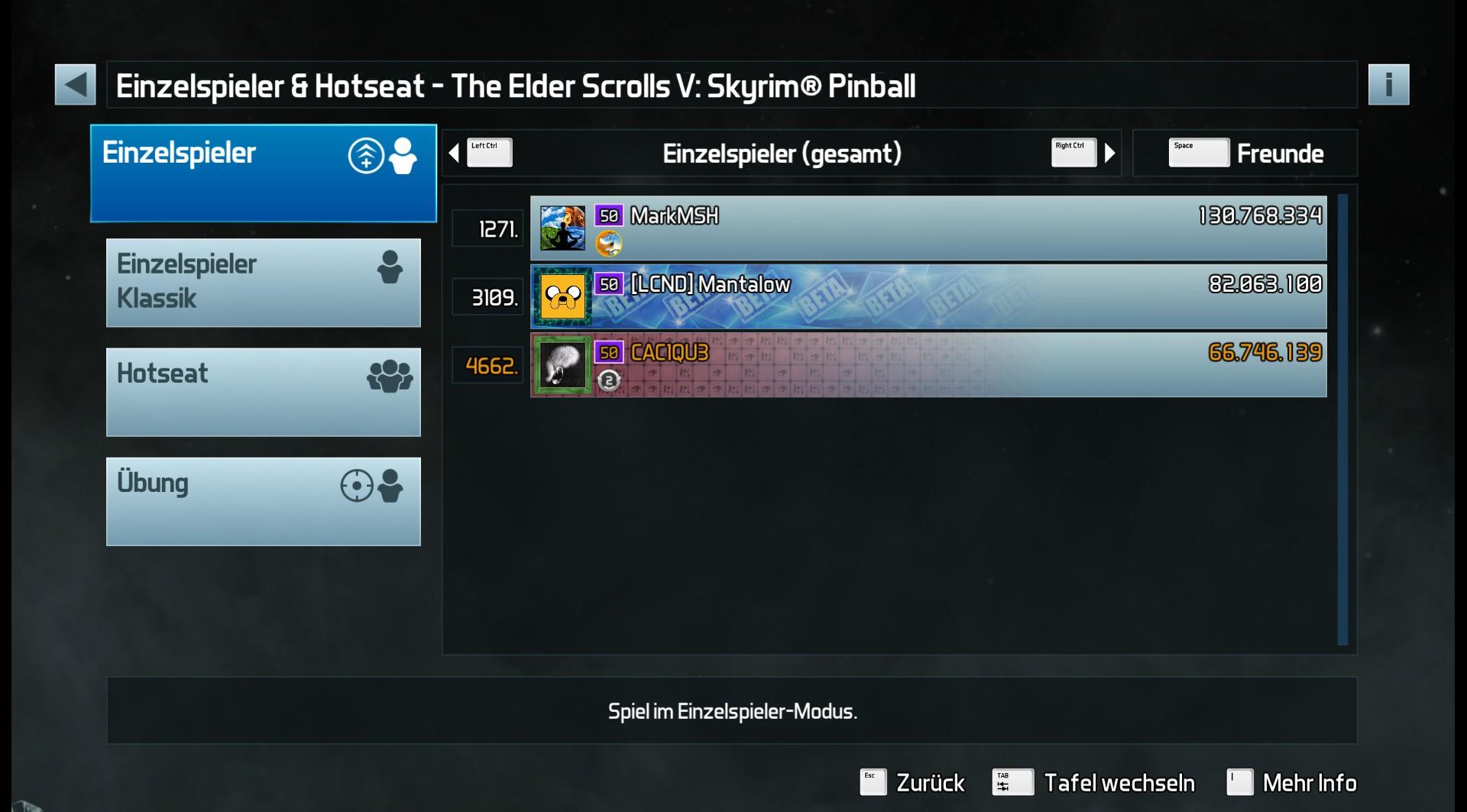 CAC1QU3: Pinball FX3: The Elder Scrolls V: Skyrim Pinball (PC) 66,746,139 points on 2019-05-05 01:59:52