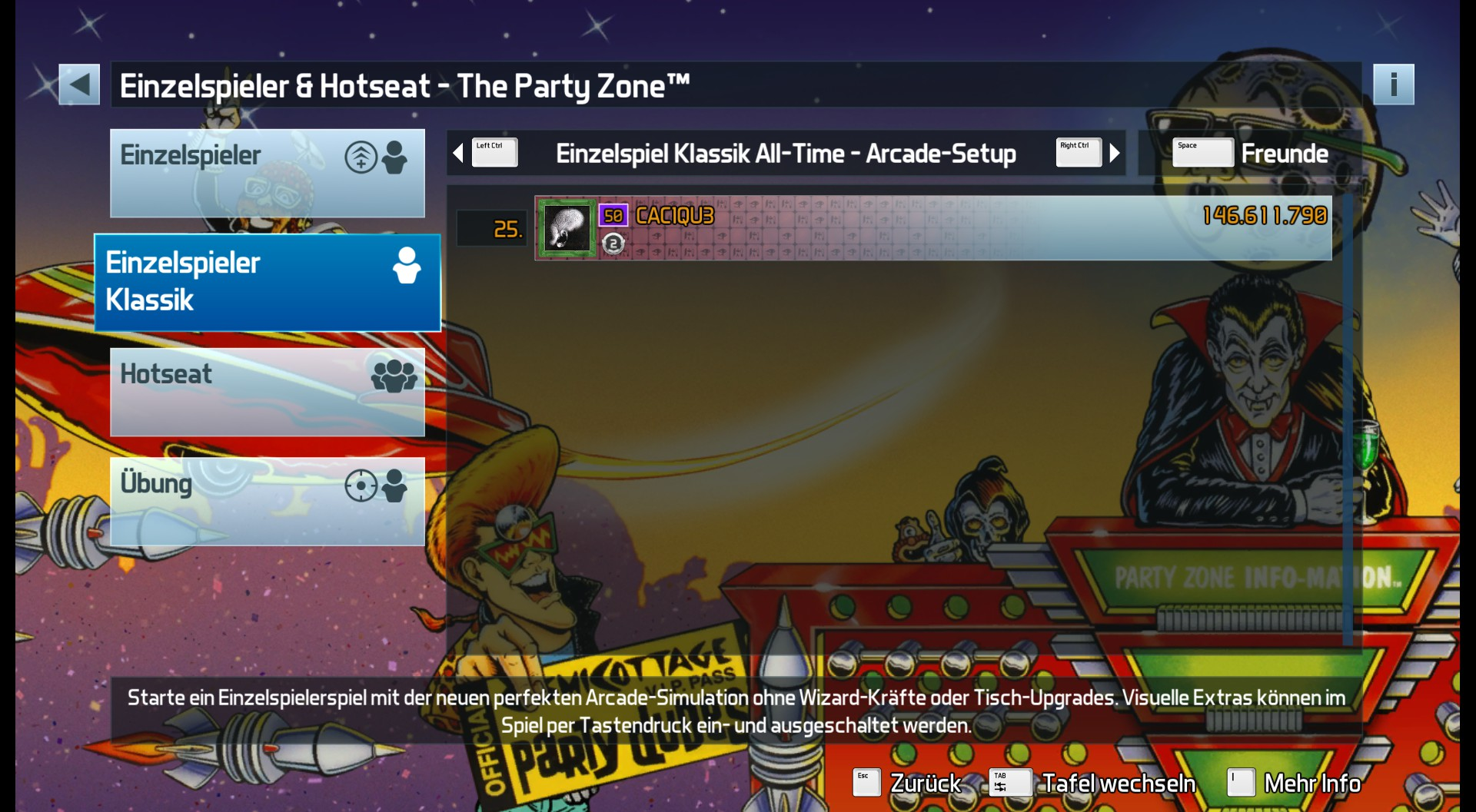 CAC1QU3: Pinball FX3: The Party Zone [Arcade] (PC) 146,611,790 points on 2019-04-26 00:03:58