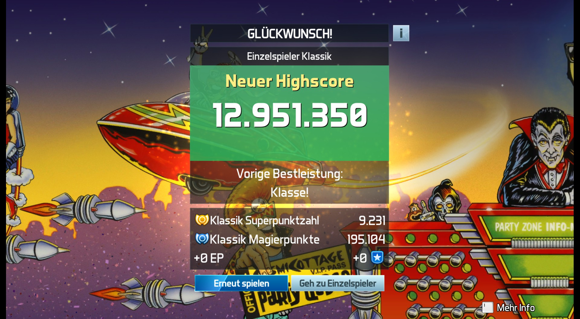 CAC1QU3: Pinball FX3: The Party Zone [Tournament] (PC) 12,951,350 points on 2019-04-25 18:11:38