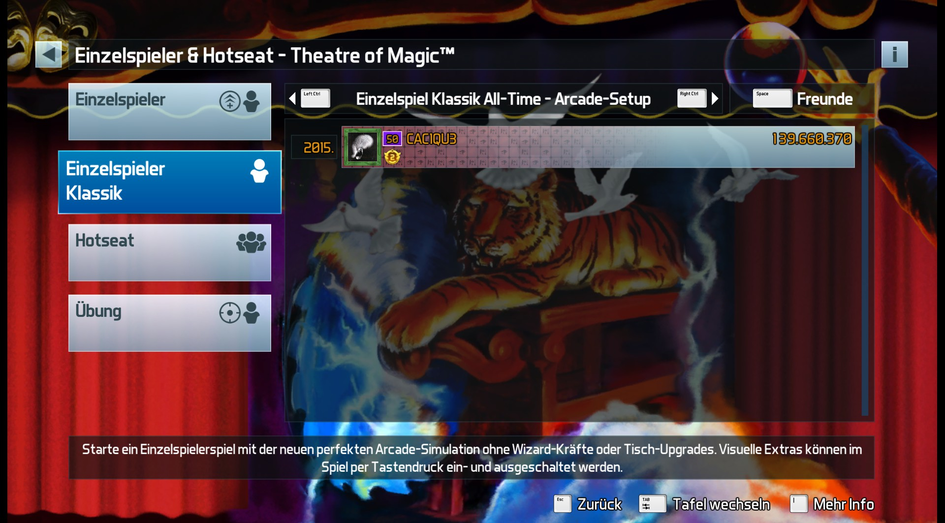CAC1QU3: Pinball FX3: Theatre Of Magic [Arcade] (PC) 139,660,370 points on 2019-05-17 23:32:24