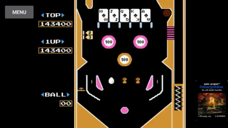 omargeddon: Pinball [Game B] (NES/Famicom Emulated) 143,400 points on 2017-11-14 00:25:27