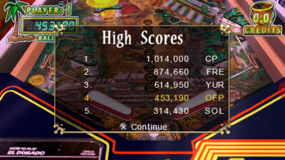 omargeddon: Pinball Hall of Fame: The Gottlieb Collection: El Dorado City of Gold [3 Balls] (PSP Emulated) 453,190 points on 2018-11-17 15:30:04