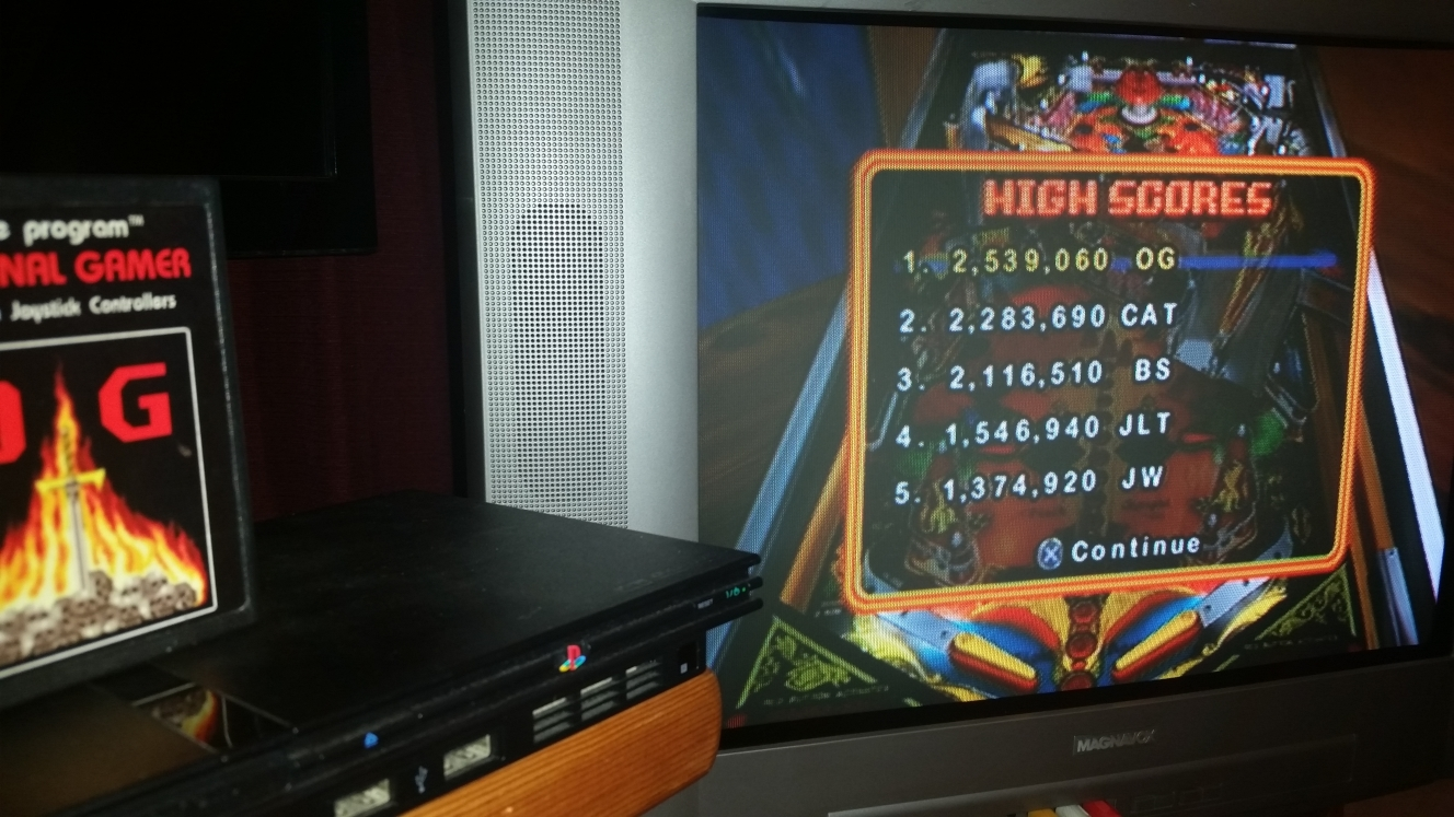 OriginalGamer: Pinball Hall of Fame: The Williams Collection: Black Knight (Playstation 2) 2,539,060 points on 2016-06-16 00:04:19