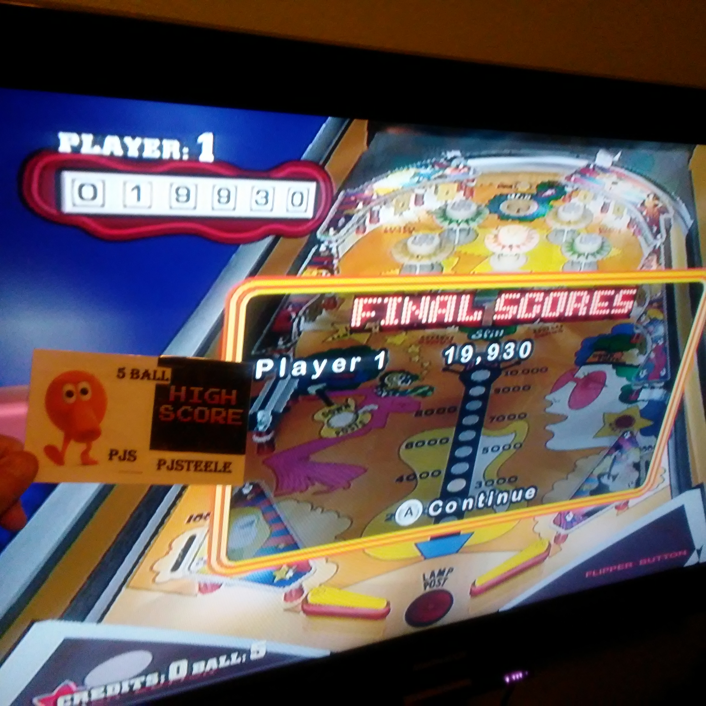 Pjsteele: Pinball Hall of Fame: The Williams Collection: Jive Time (Wii) 19,930 points on 2018-02-18 00:05:10