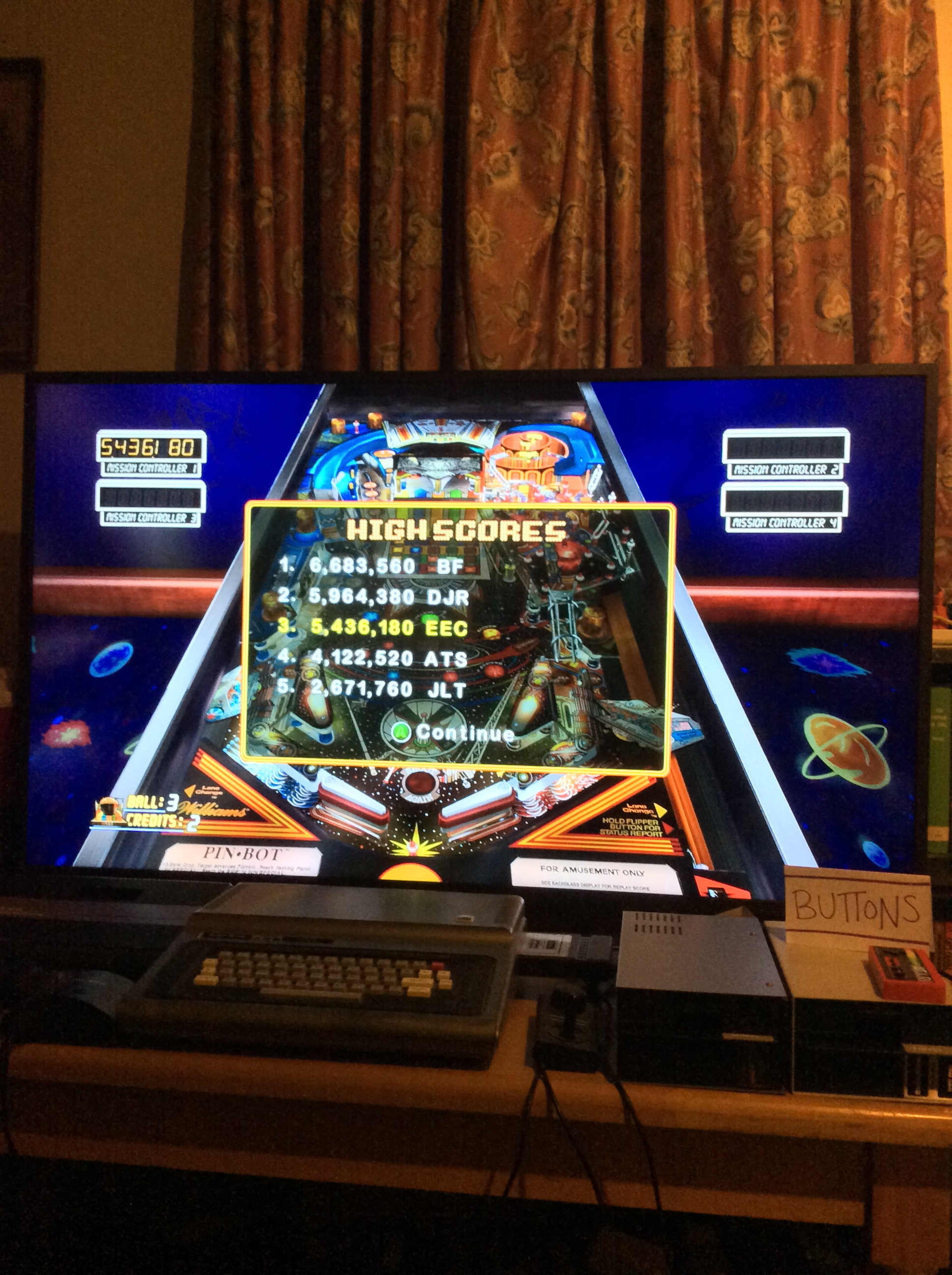 Pinball Hall of Fame: The Williams Collection: PIN•BOT 5,436,180 points