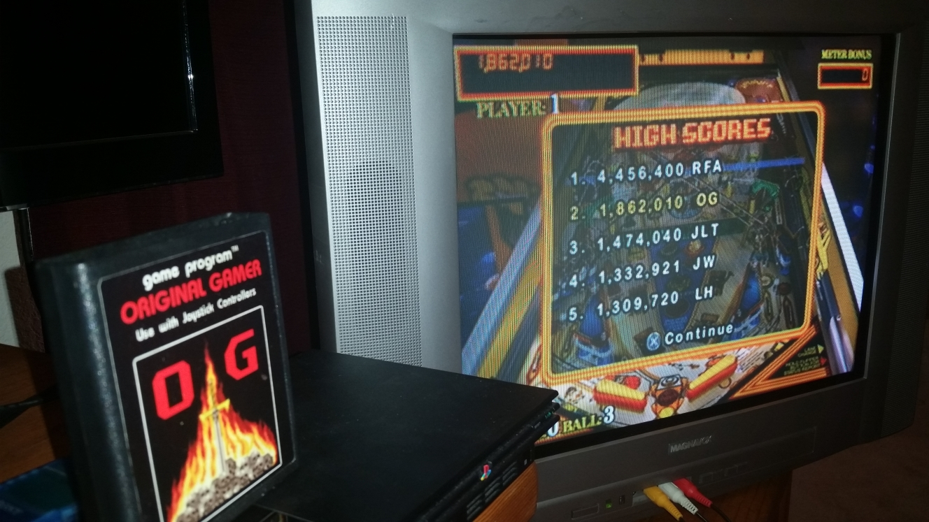 OriginalGamer: Pinball Hall of Fame: The Williams Collection: Taxi (Playstation 2) 1,862,010 points on 2016-06-15 23:53:22