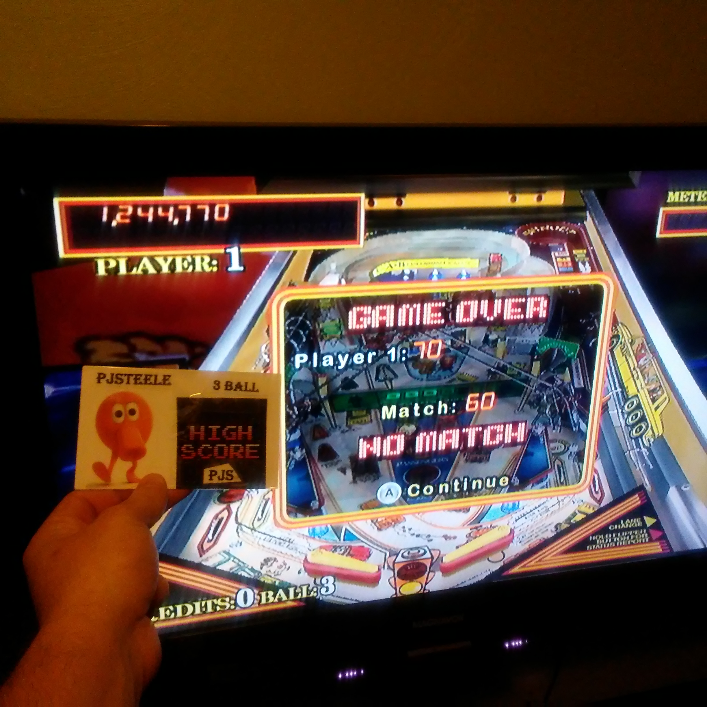 Pjsteele: Pinball Hall of Fame: The Williams Collection: Taxi (Wii) 1,244,770 points on 2018-02-17 23:29:45