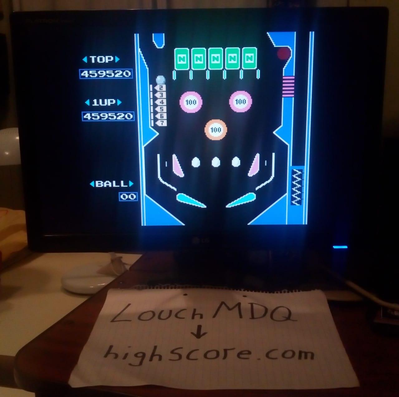 LouchMDQ: Pinball (NES/Famicom Emulated) 459,520 points on 2020-06-19 01:35:11