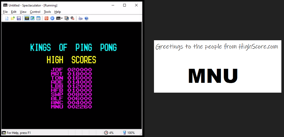 hughes10: Ping Pong [Imagine Software] [Start Level 1] (ZX Spectrum Emulated) 2,260 points on 2020-05-04 11:48:43