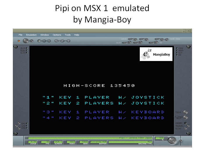 MangiaBoy: Pipi (MSX Emulated) 135,450 points on 2017-07-08 17:13:32