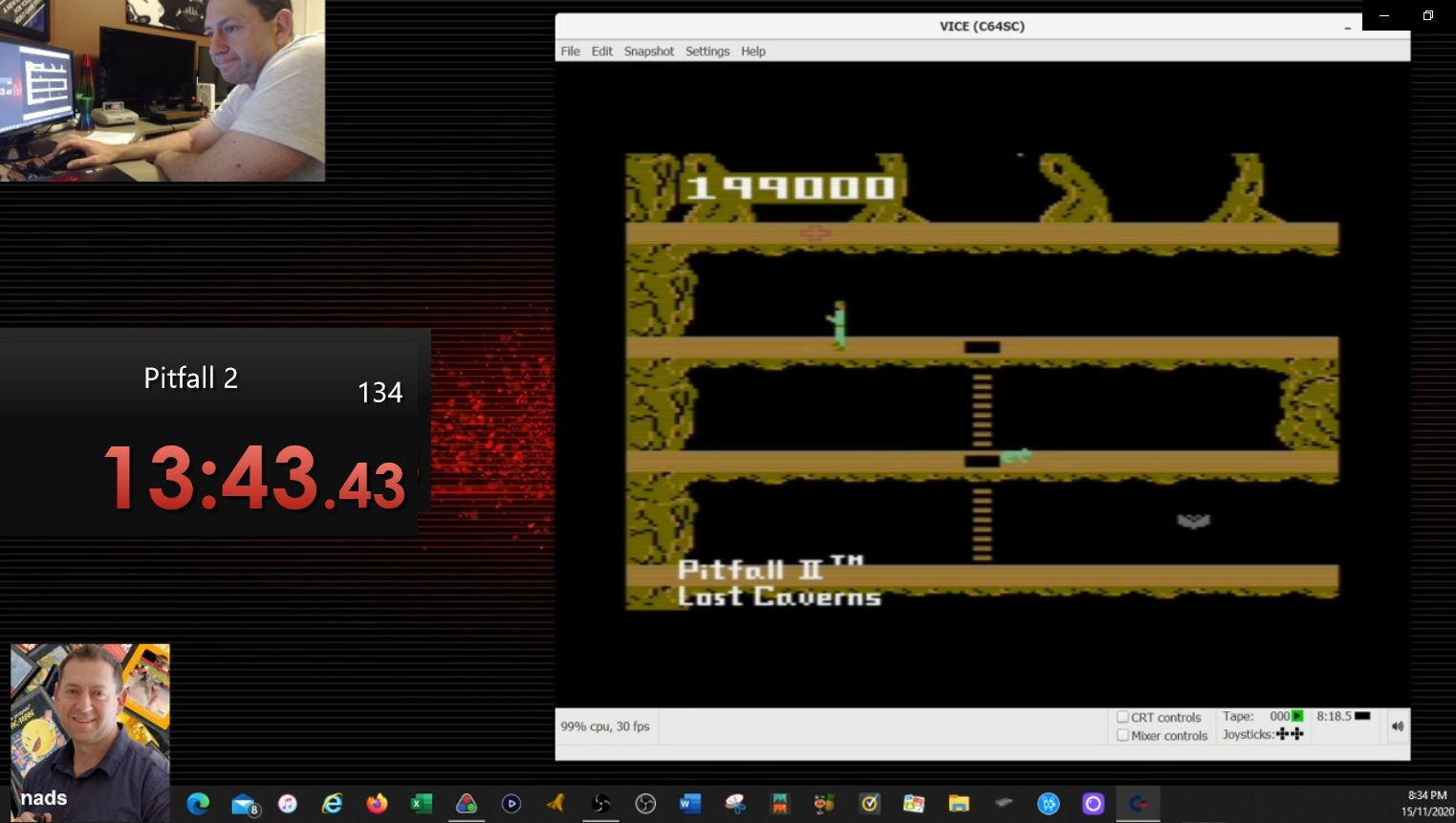nads: Pitfall II: Lost Caverns (Commodore 64 Emulated) 199,000 points on 2020-11-15 05:08:05