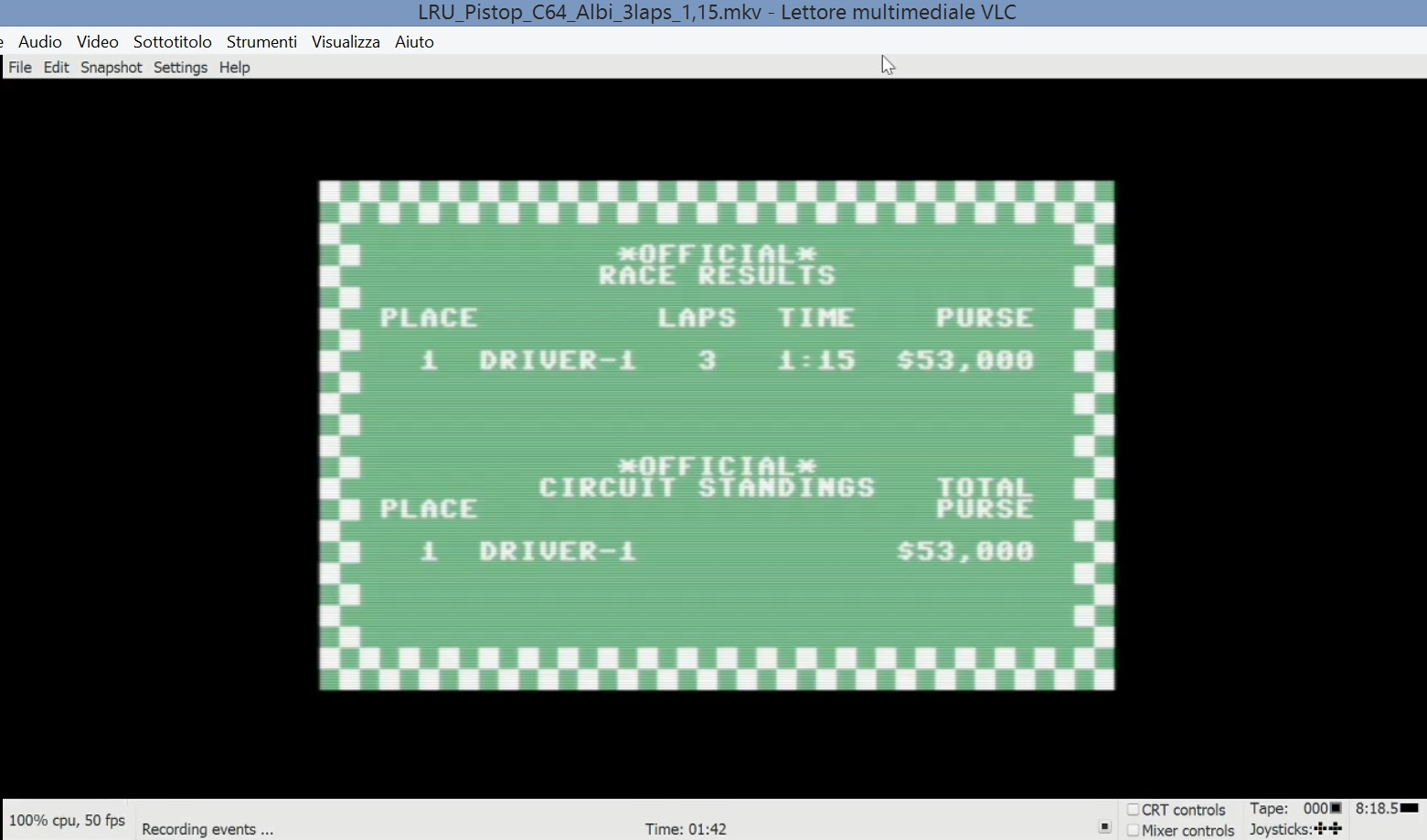 LuigiRuffolo: Pitstop: Albi [3 Laps] (Commodore 64 Emulated) 0:01:15 points on 2020-09-27 08:48:23