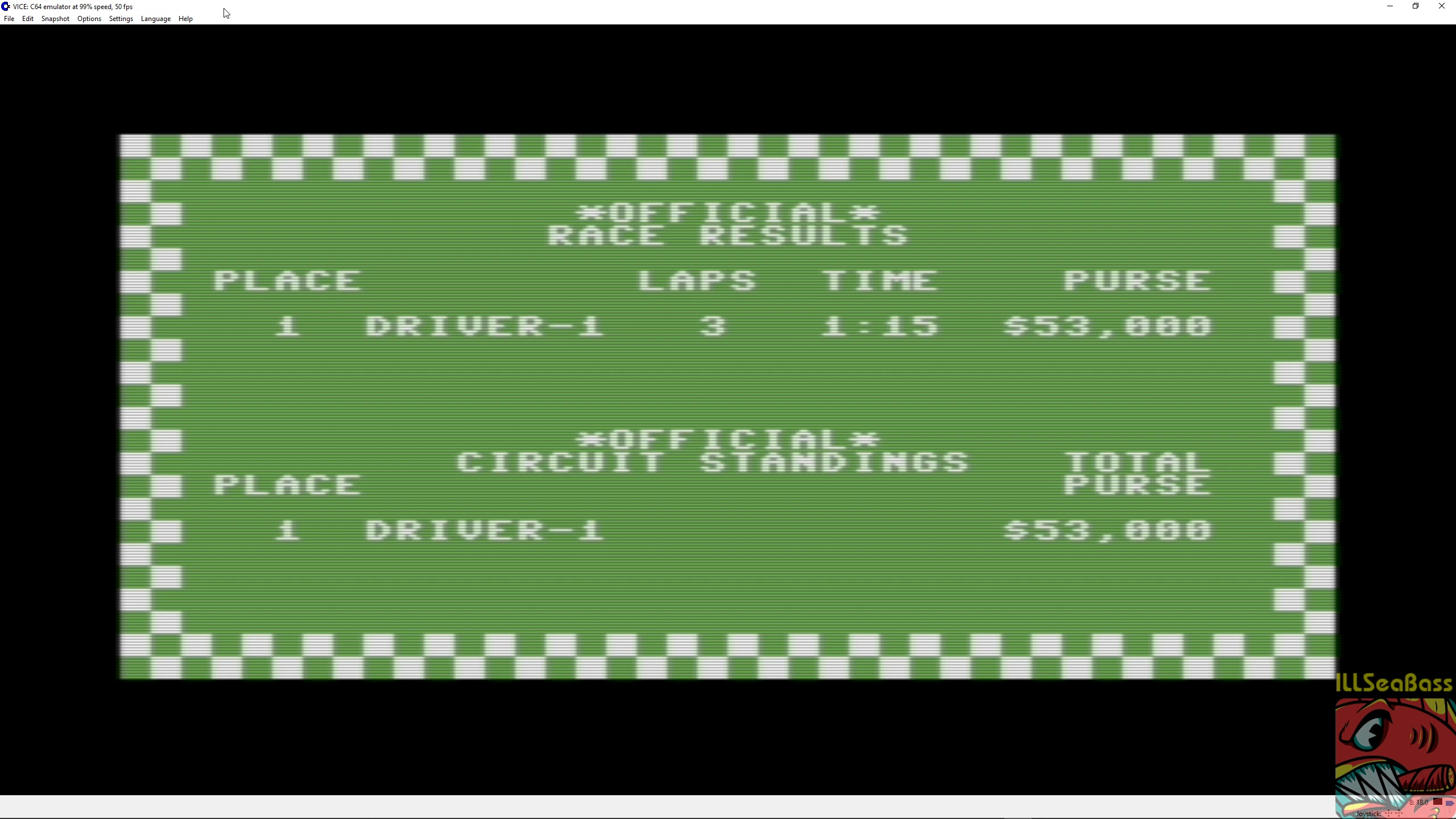 ILLSeaBass: Pitstop: Albi [3 Laps] (Commodore 64 Emulated) 0:01:15 points on 2018-05-05 14:55:47