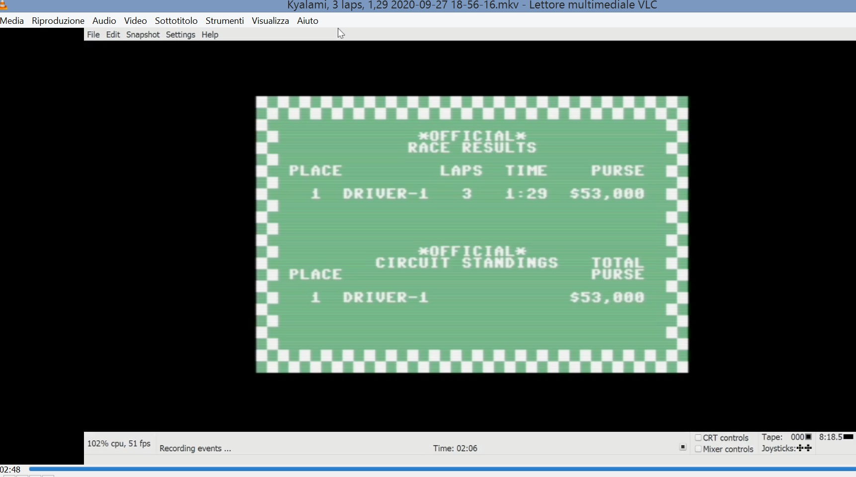 LuigiRuffolo: Pitstop: Kyalami [3 Laps] (Commodore 64 Emulated) 0:01:29 points on 2020-09-27 12:13:11