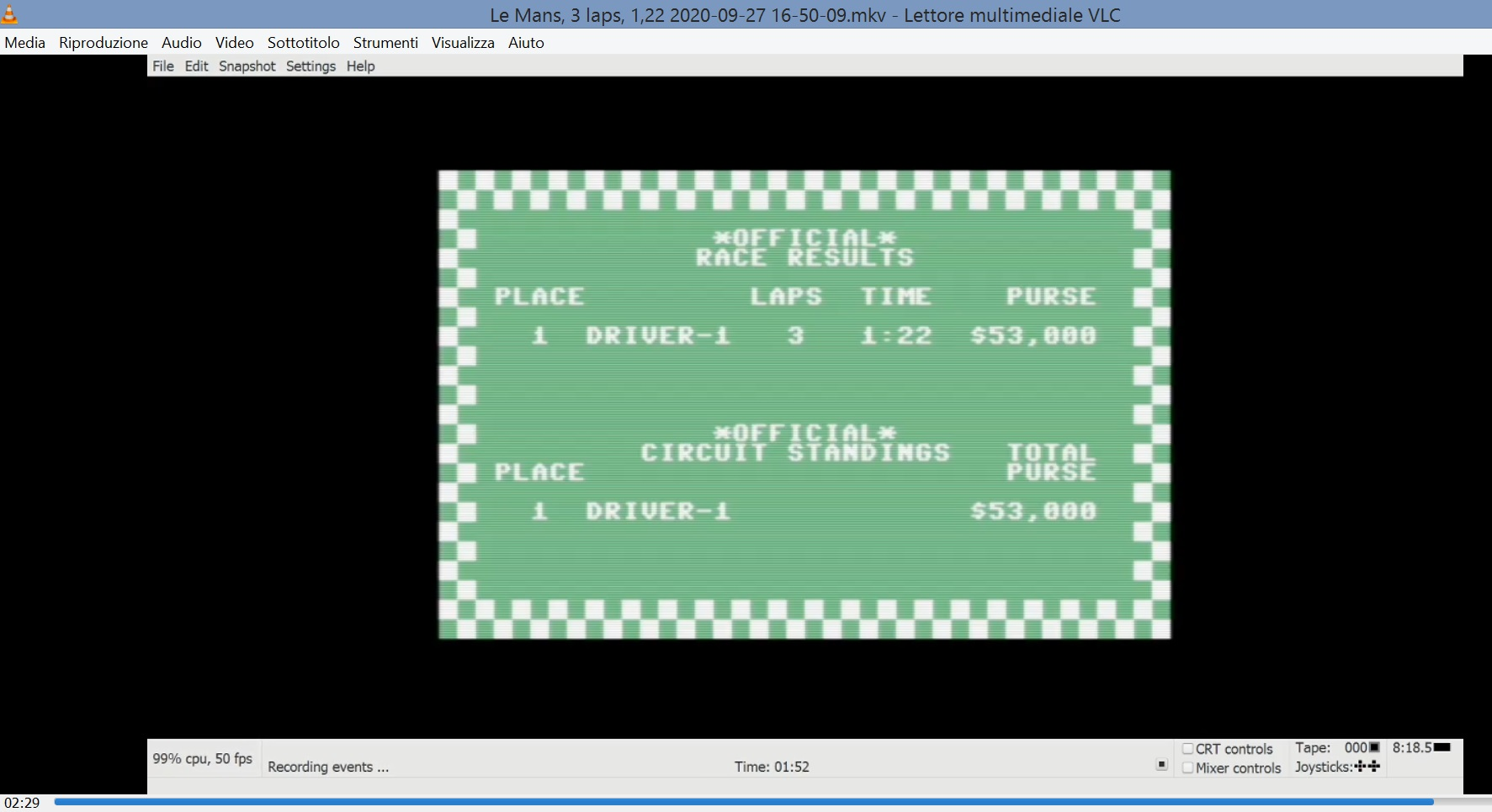 LuigiRuffolo: Pitstop: Le-Mans [3 Laps] (Commodore 64 Emulated) 0:01:22 points on 2020-09-27 10:10:14