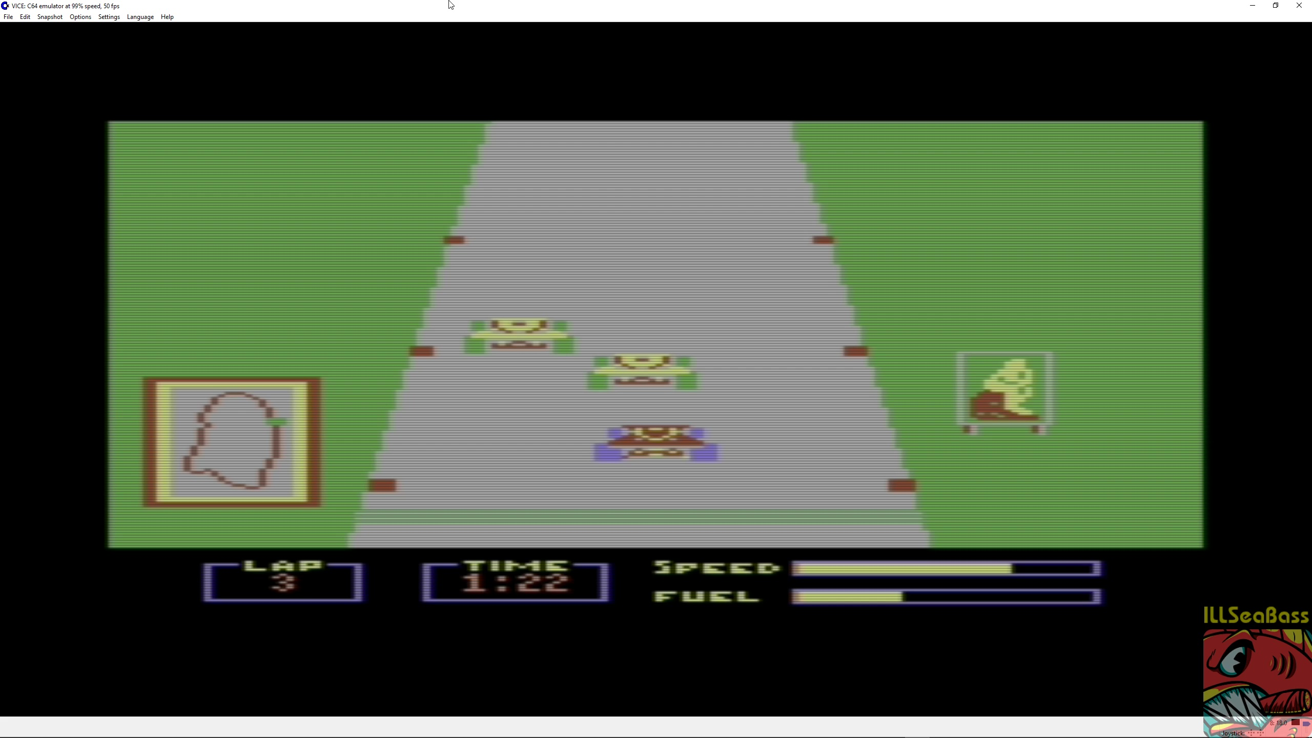 ILLSeaBass: Pitstop: Le-Mans [3 Laps] (Commodore 64 Emulated) 0:01:22 points on 2018-05-06 08:38:44