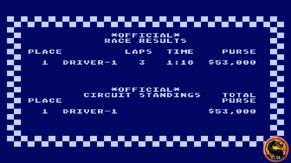 omargeddon: Pitstop [Le-Mans] (Atari 400/800/XL/XE Emulated) 0:01:18 points on 2019-04-15 19:11:07