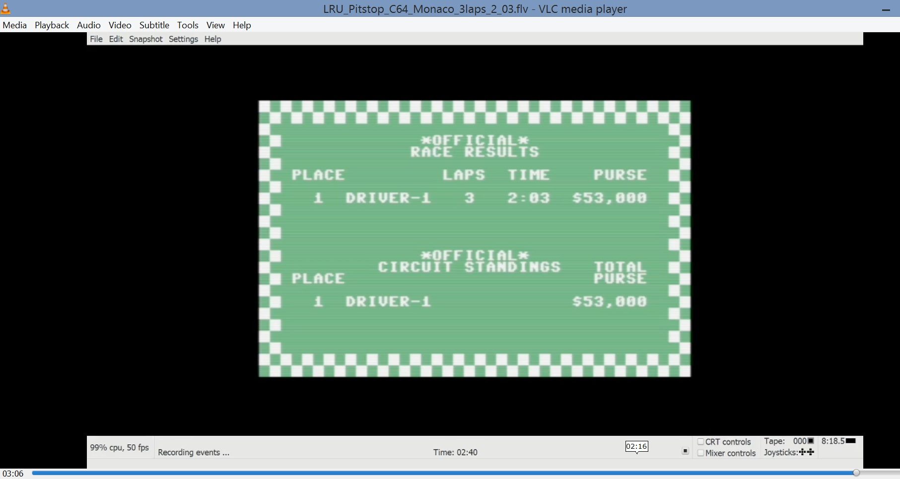 LuigiRuffolo: Pitstop: Monaco [3 Laps] (Commodore 64 Emulated) 0:02:03 points on 2020-09-28 07:18:44