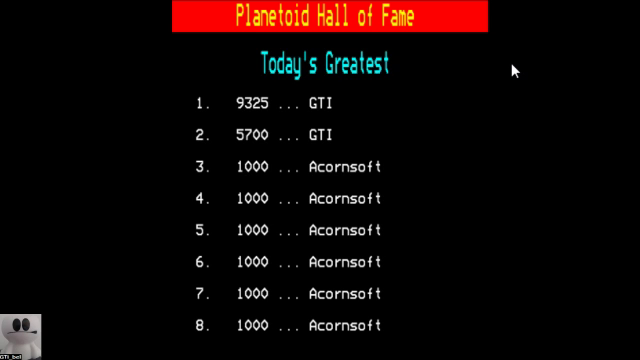 GTibel: Planetoid (BBC Micro Emulated) 9,325 points on 2017-11-13 08:18:59