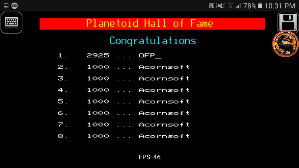 omargeddon: Planetoid (BBC Micro Emulated) 2,925 points on 2019-02-03 22:30:46