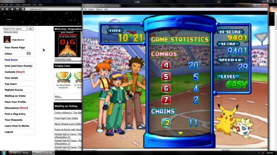 OriginalGamer: Pokémon Puzzle League [Marathon] [3D] [Easy] (N64 Emulated) 9,401 points on 2016-07-08 02:23:47